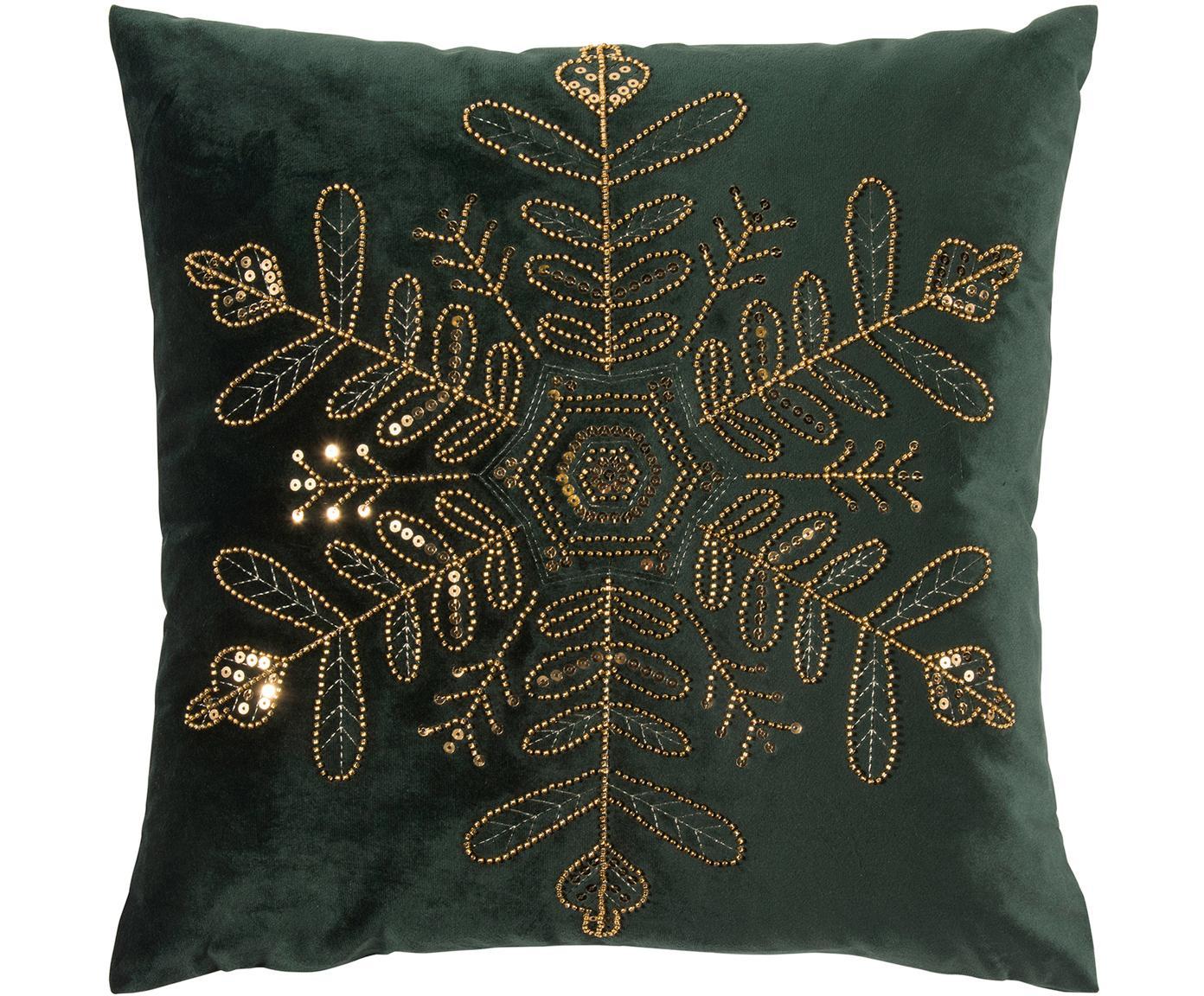 Samt-Kissenhülle Sparkle mit besticktem Perlen-Motiv, Polyestersamt, Dunkelgrün, Goldfarben, 45 x 45 cm