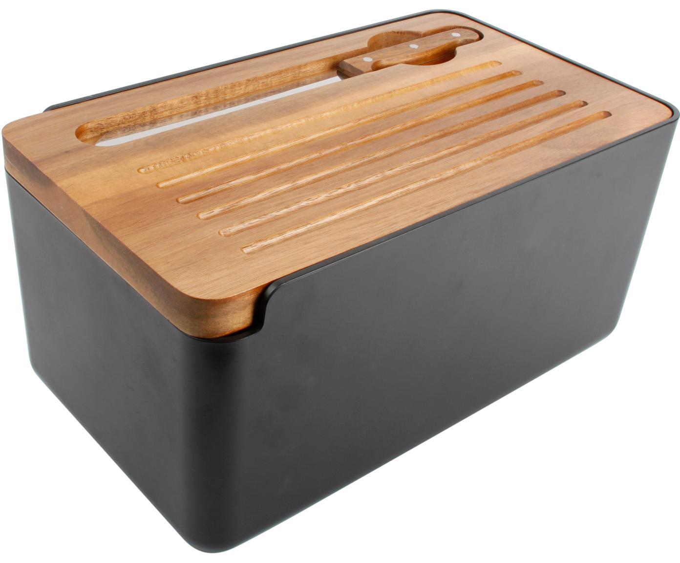 Brotkasten Hudson mit Akazienholzdeckel und Messer, 3er-Set, Messer: Rostfreier Stahl, Holz, Schwarz, Akazienholz, Stahl, 37 x 19 cm