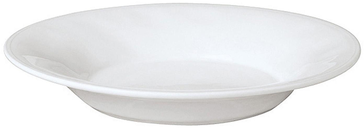 Talerz do makaronu Constance, 2 szt., Kamionka, Biały, Ø 27 x W 4 cm
