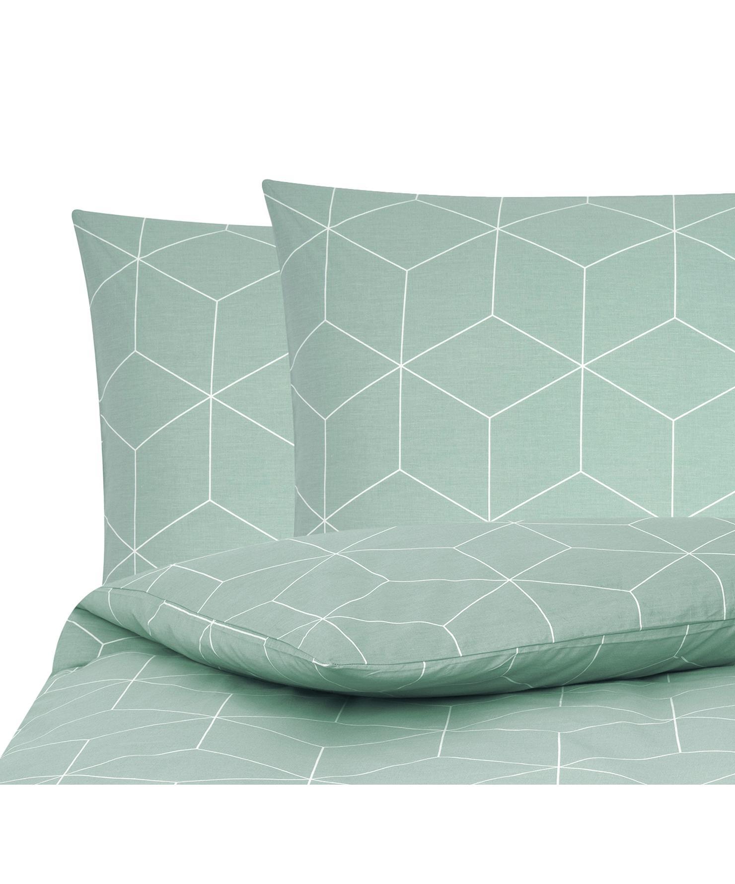 Baumwoll-Bettwäsche Lynn mit grafischem Muster, Webart: Renforcé Fadendichte 144 , Mint, Cremeweiß, 200 x 200 cm + 2 Kissen 80 x 80 cm