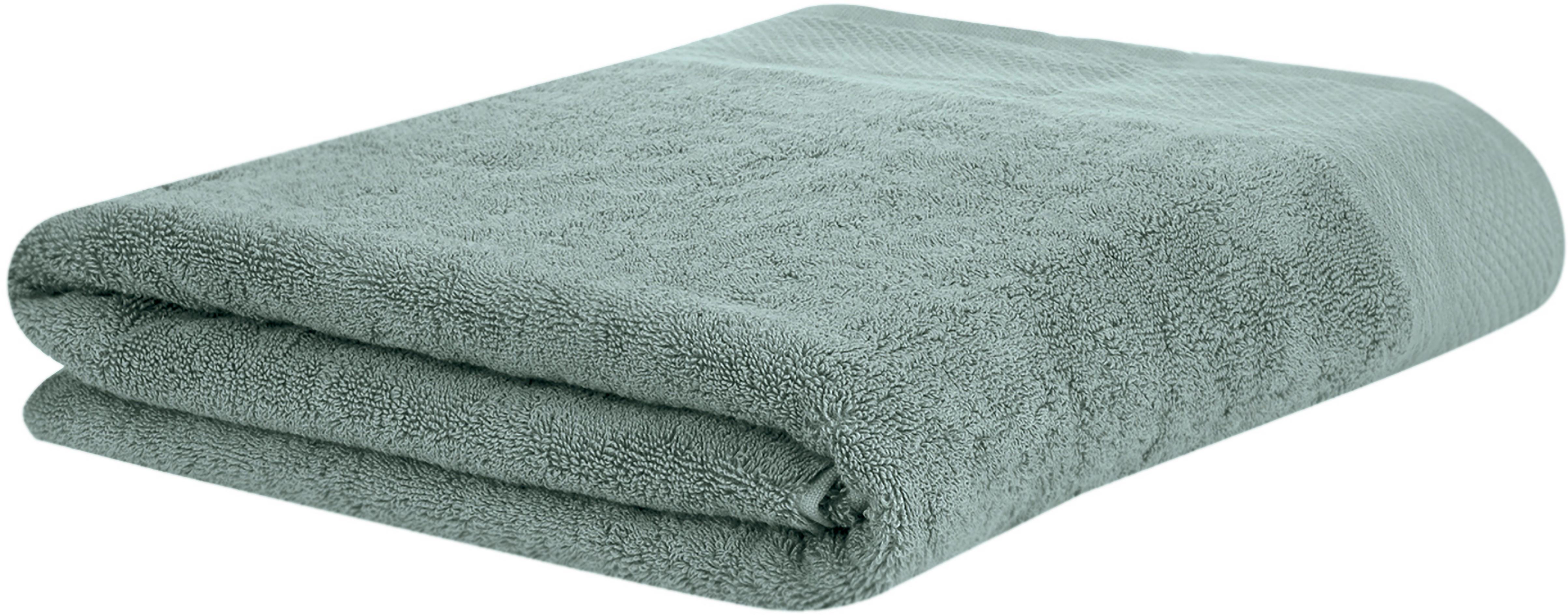 Handtuch Premium in verschiedenen Grössen, mit klassischer Zierbordüre, Salbeigrün, Badetuch