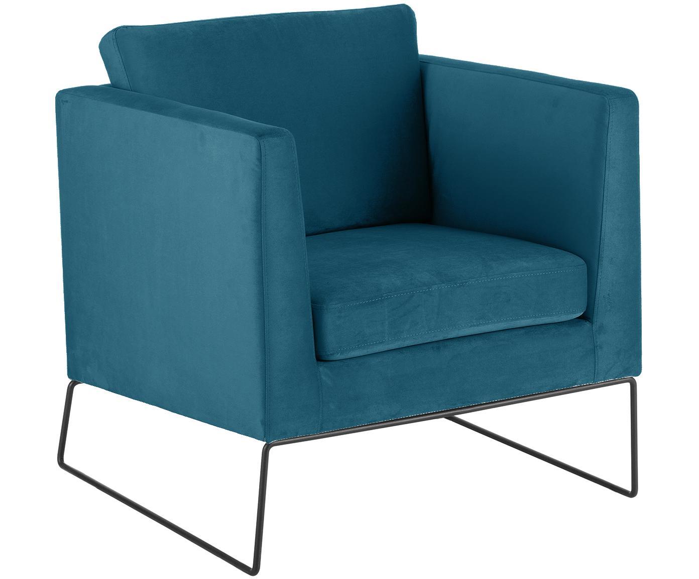 Klassischer Samt-Sessel Milo in Blau, Bezug: Samt (hochwertiger Polyes, Gestell: Kiefernholz, Beine: Metall, lackiert Das FSC , Bezug: Petrolblau  Beine: Schwarz, 77 x 75 cm