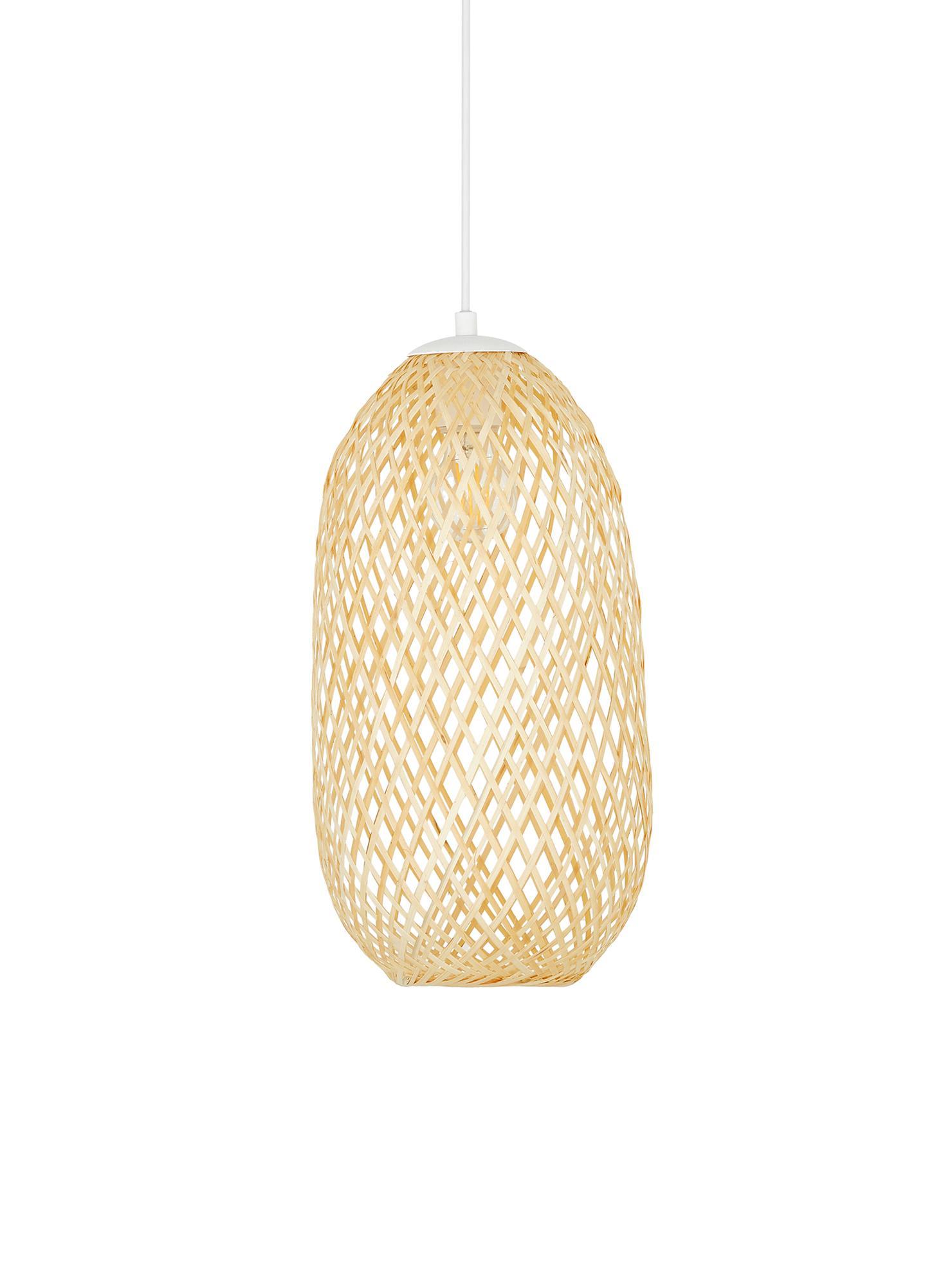 Kleine Pendelleuchte Jess aus Bambus, Lampenschirm: Bambus, Lampenschirm: BambusBaldachin und Lampengestell: Weiss, mattKabel: Weiss, Ø 23 x H 43 cm