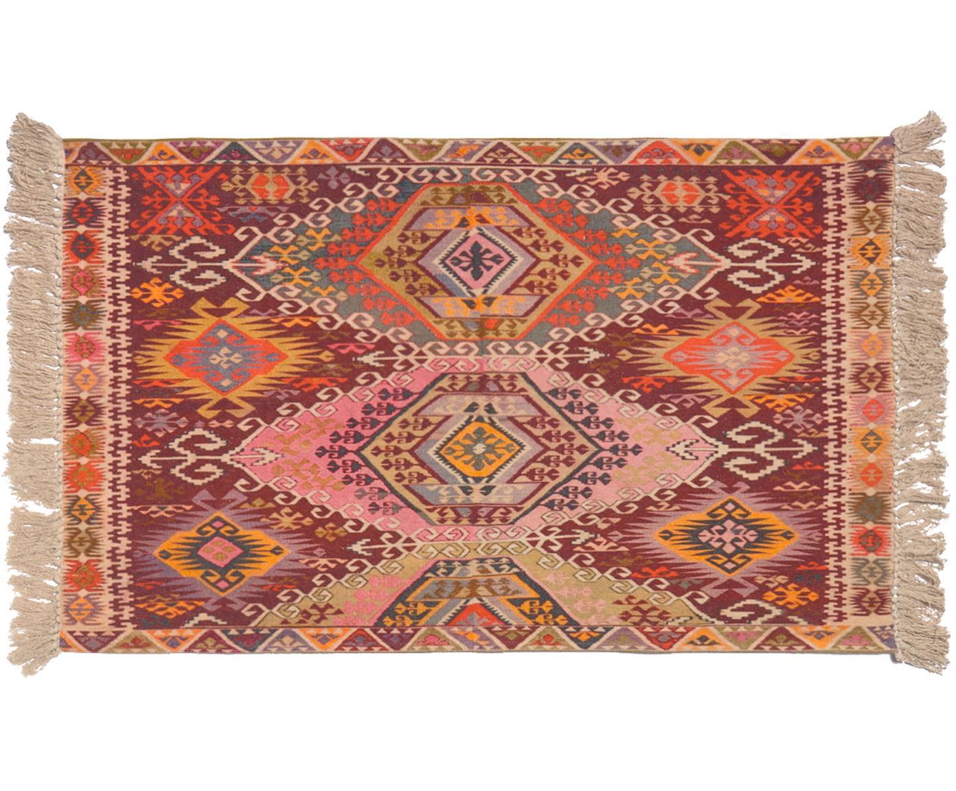 Tappeto etnico con frange Tarso, Cotone, Rosso, rosa, arancione, beige, Larg. 60 x Lung. 90 cm (taglia XXS)