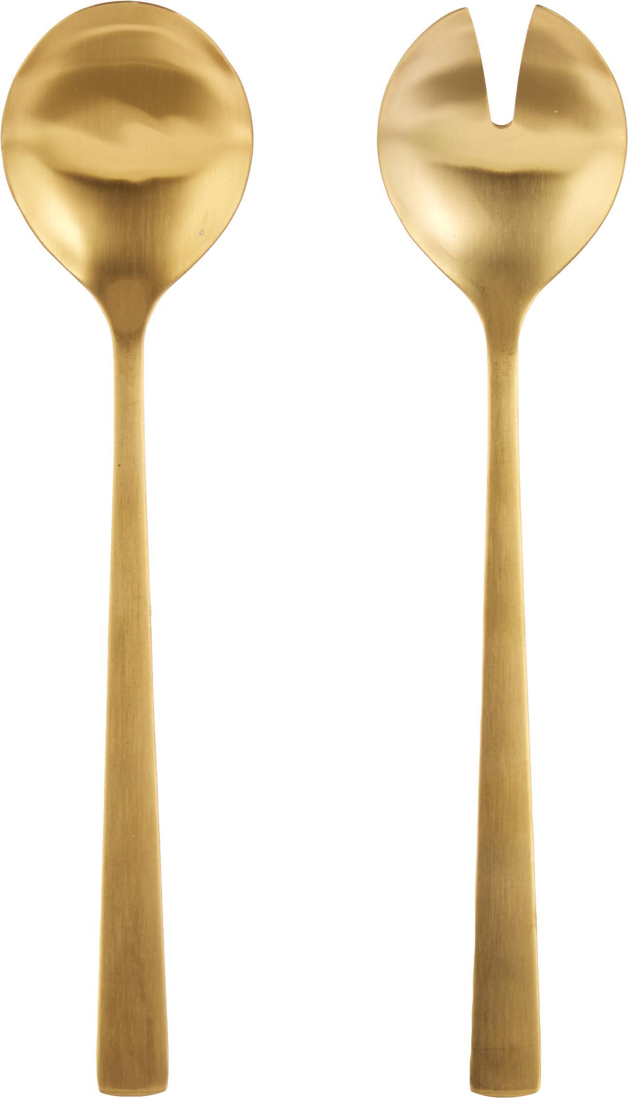 Komplet sztućców do sałatek Snagg, 2 elem., Stal nierdzewna, powlekana, Odcienie mosiądzu, D 24 cm