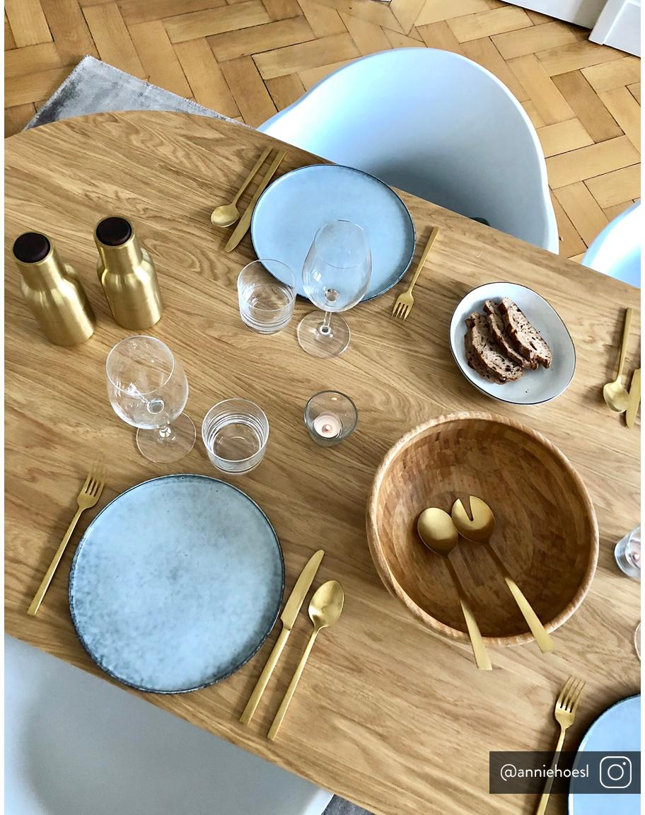 Goldfarbenes Salatbesteck Snagg aus rostfreiem Stahl, 2er-Set, Rostfreier Stahl, beschichtet, Messingfarben, L 24 cm