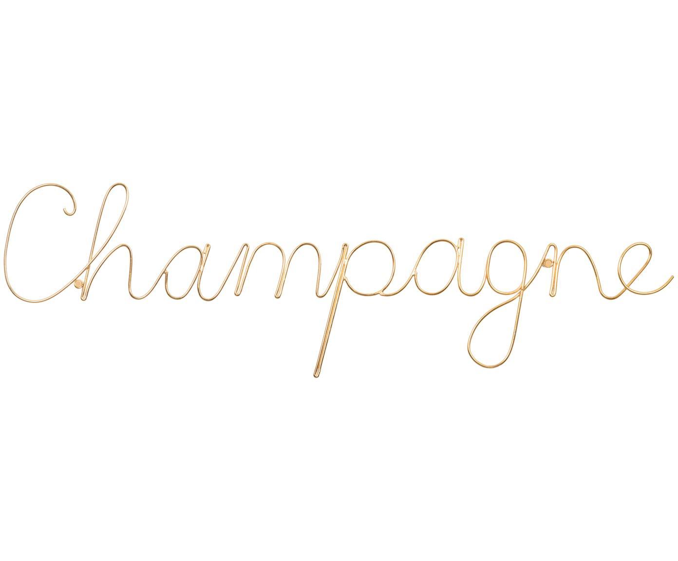 Wandobject Champagne van aluminium, Aluminium, Goudkleurig, 57 x 16 cm