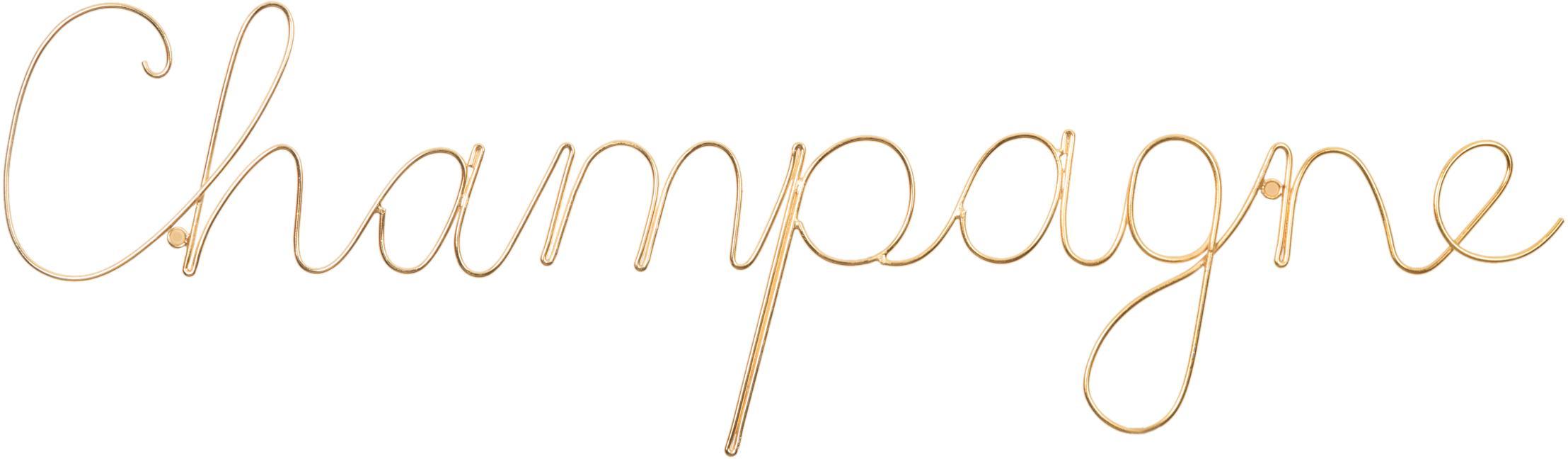Dekoracja ścienna z aluminium Champagne, Aluminium, Odcienie złotego, S 57 x W 16 cm