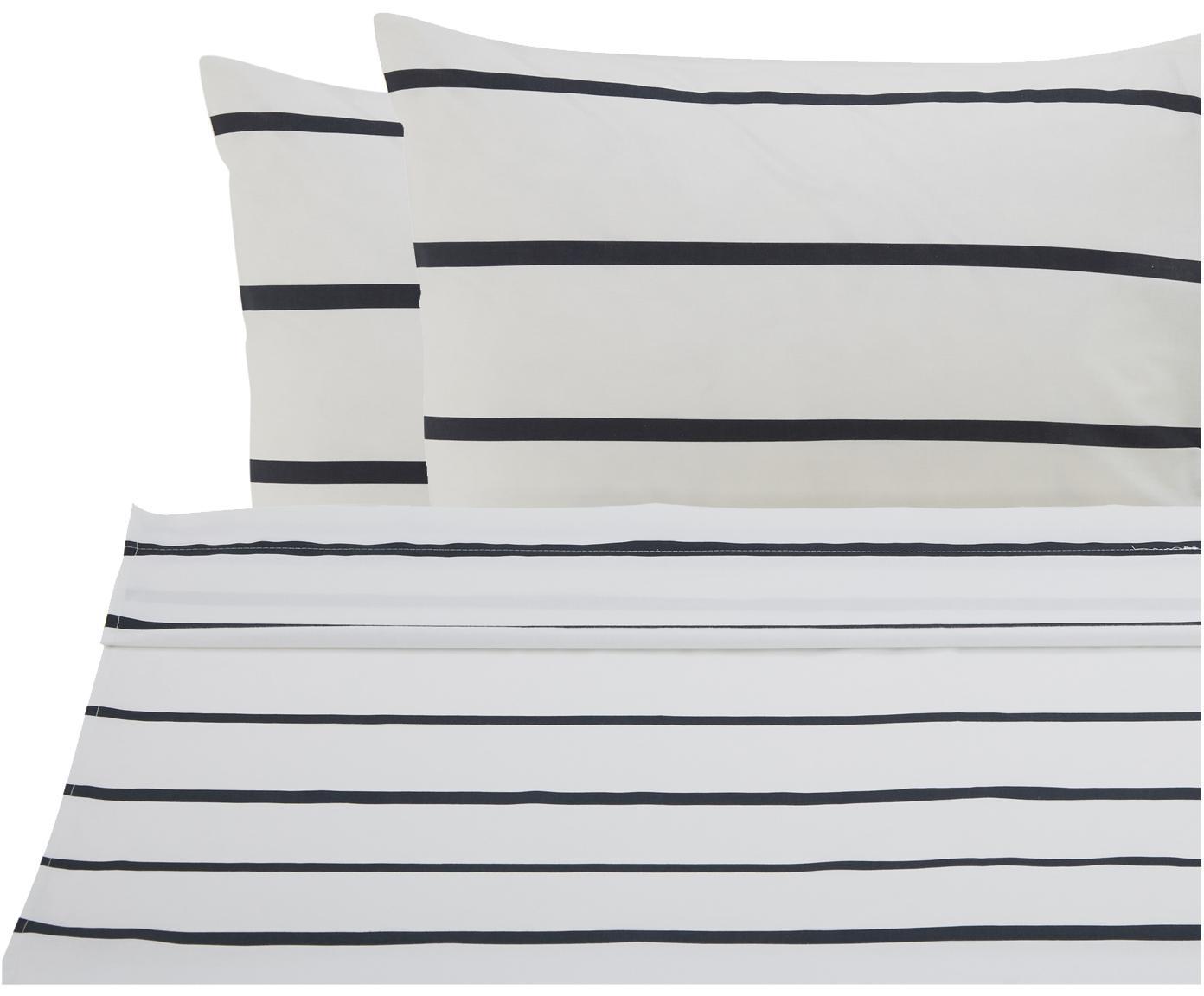 Set lenzuola in cotone ranforce Blush 3 pz, Tessuto: Renforcé, Bianco, nero, rosa, 240 x 270 cm