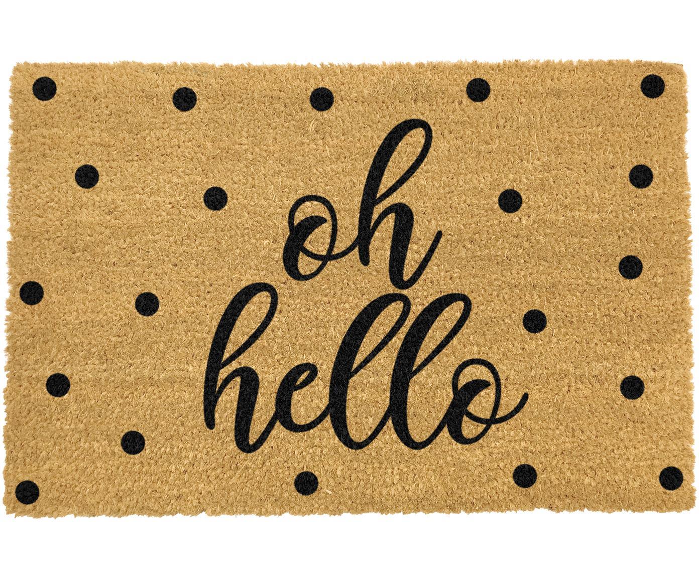 Deurmat Oh Hello, Bovenzijde: kokosvezels, Onderzijde: PVC, Beige, zwart, 40 x 60 cm