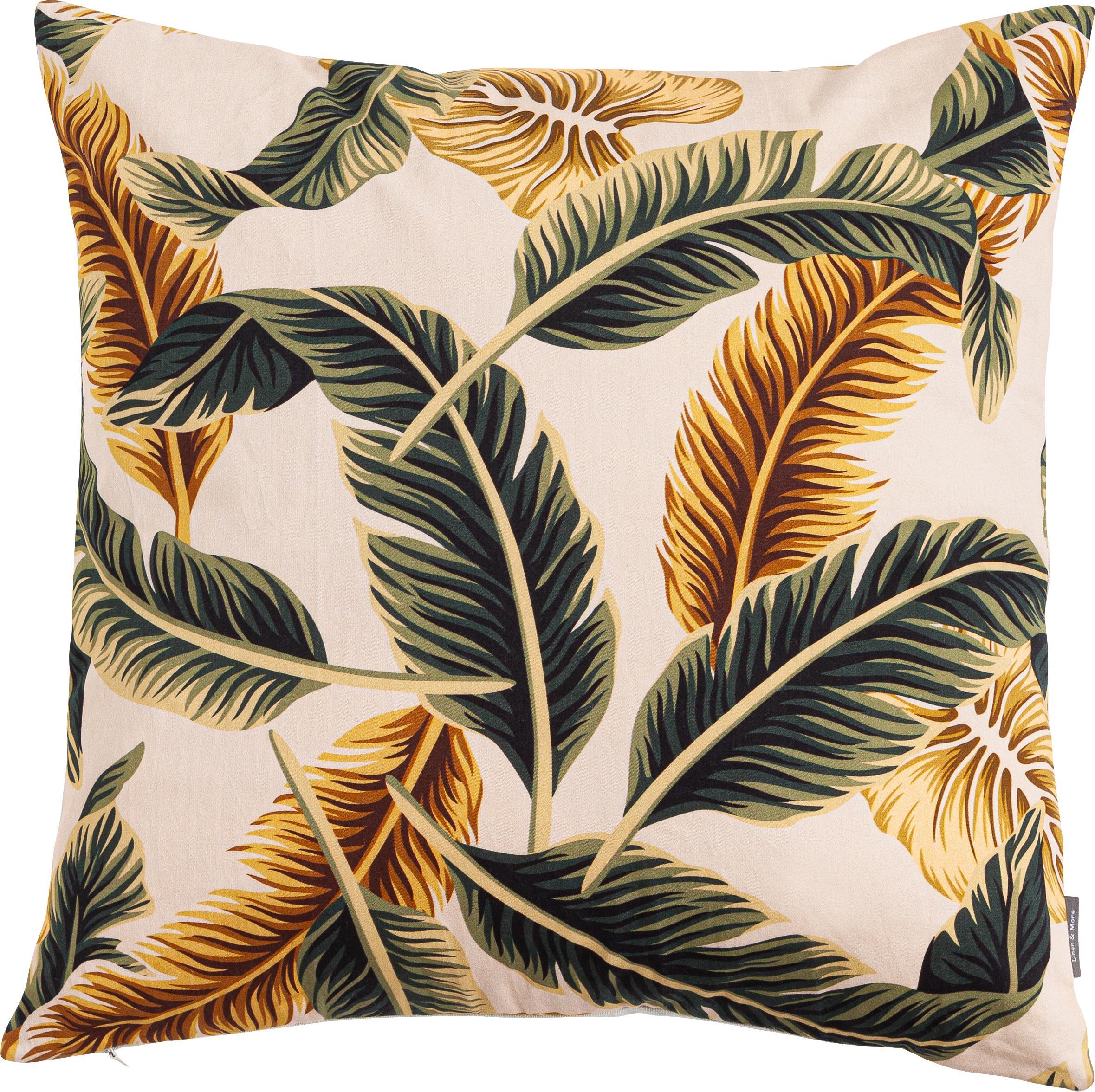 Kissen Elegant Feather, mit Inlett, 100% Baumwolle, Beige, Grün, Goldgelb, 45 x 45 cm