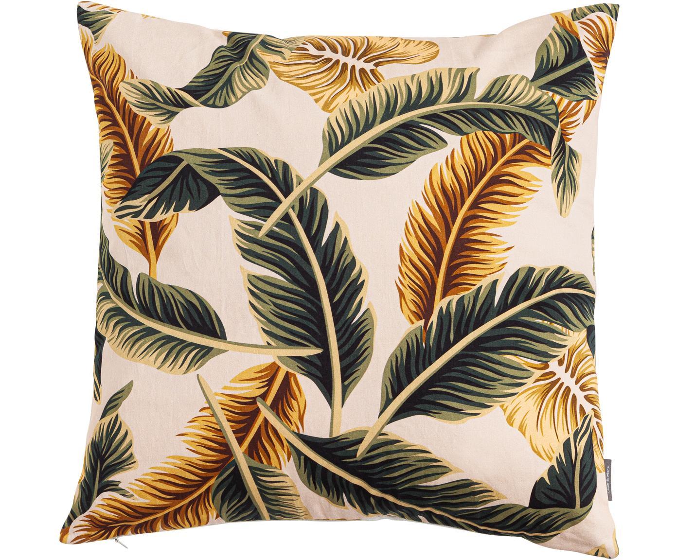 Cuscino con imbottitura Elegant Feather, Cotone, Beige, verde, giallo dorato, Larg. 45 x Lung. 45 cm