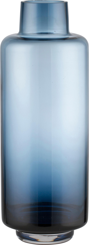 Jarrón de vidrio soplado Hedria, grande, Vidrio, Azul, Ø 11 x Al 30 cm
