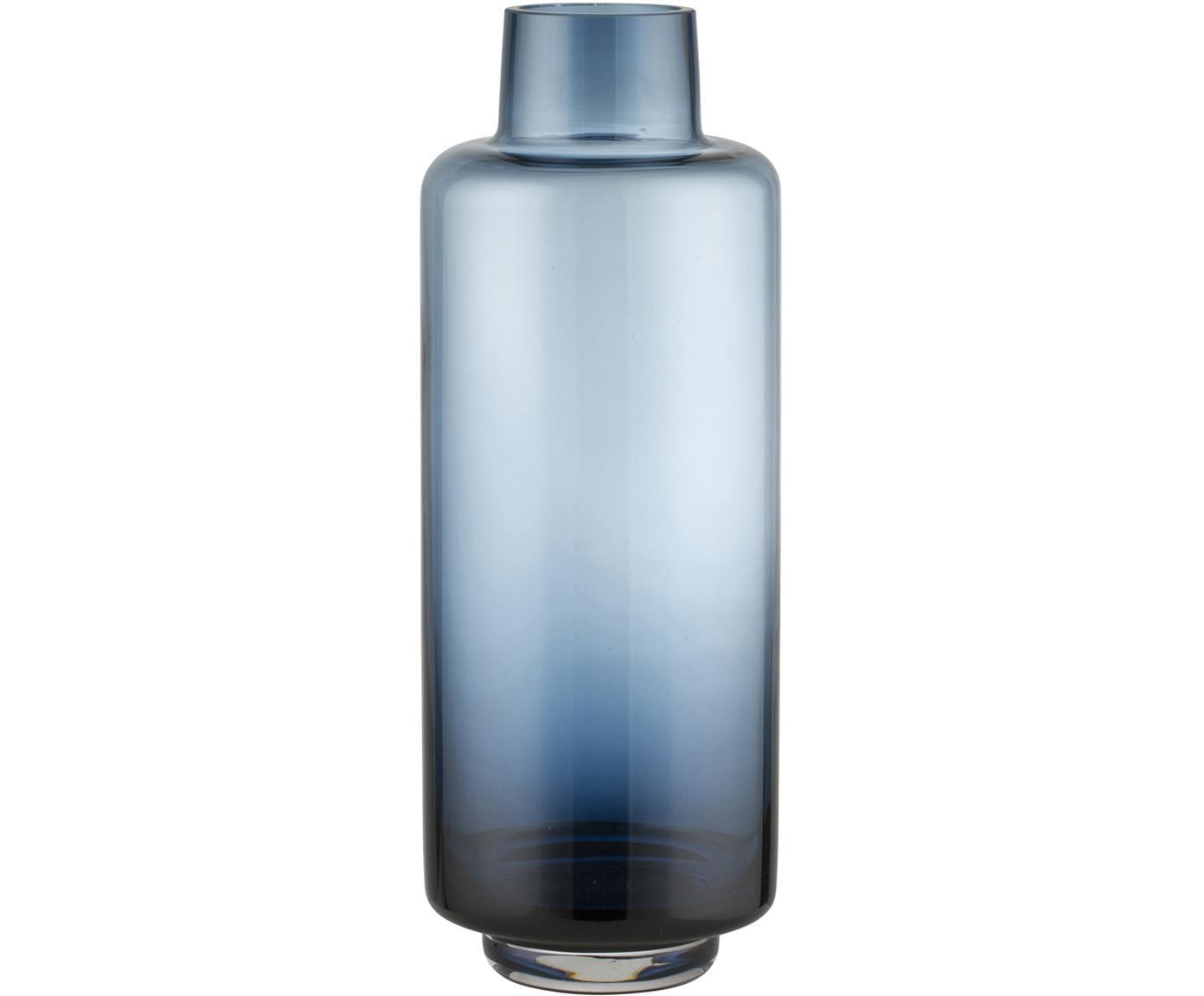 Grote mondgeblazen vaas Hedria, Glas, Blauw, Ø 11 x H 30 cm