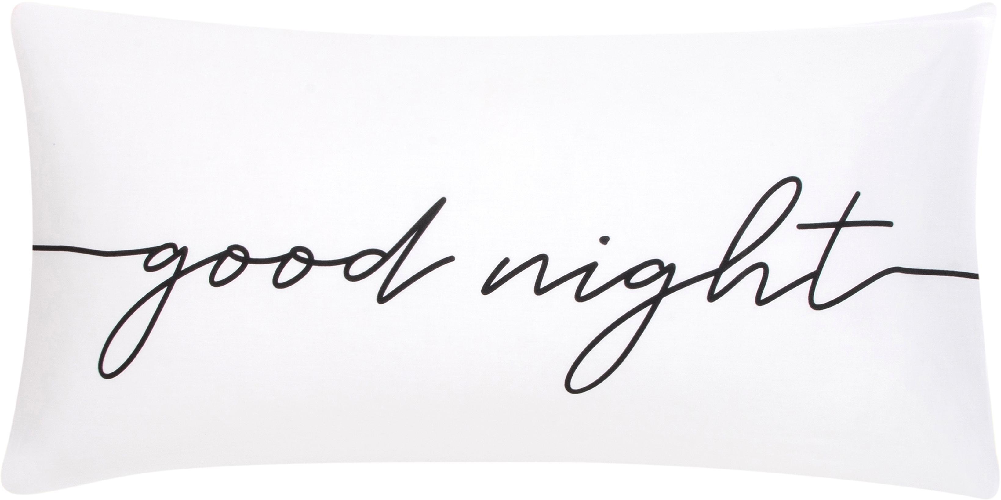 Poszewka na poduszkę z perkalu Writings, 2szt., Biały, czarny, 40 x 80 cm