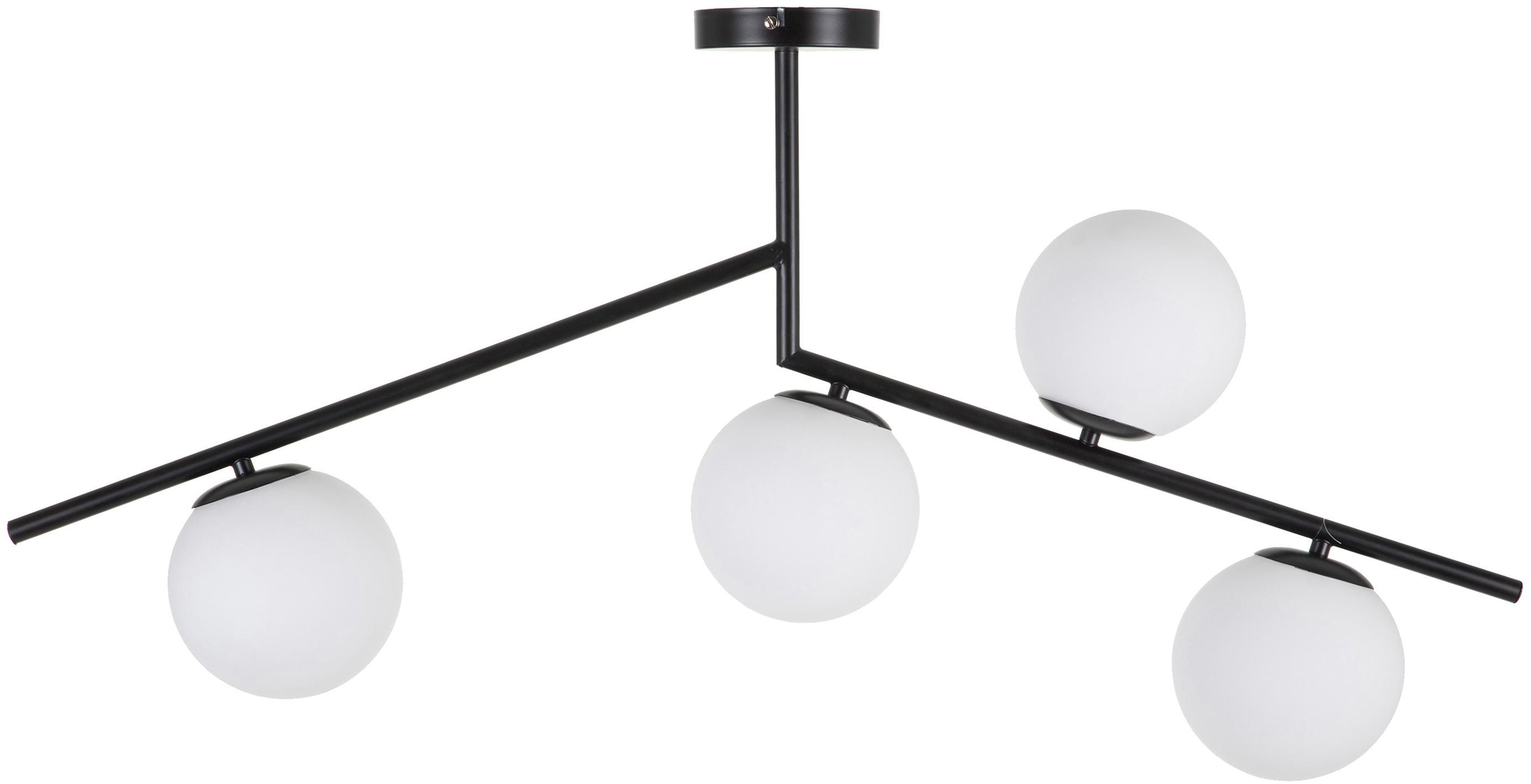 Plafondlamp Spheric, Metaal, glas, Zwart, wit, B 15 x D 98 cm