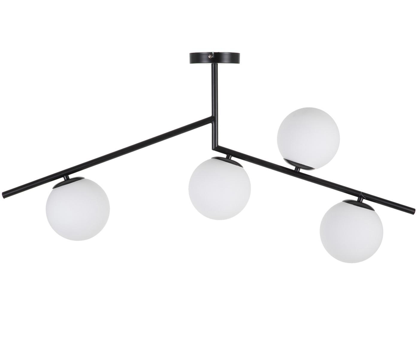 Deckenleuchte Spheric, Metall, Glas, Schwarz, Weiß, B 15 x T 98 cm