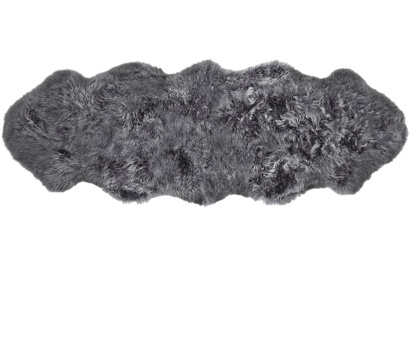 Tappeto in pelliccia di pecora Oslo, Retro: 100% pelle, rivestito sen, Grigio scuro, Larg. 60 x Lung. 180 cm