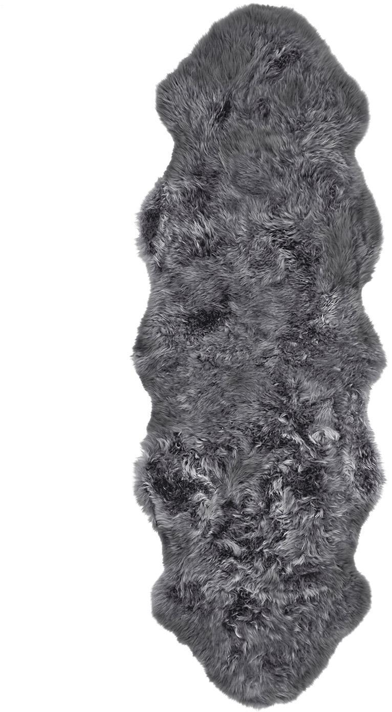 Vloerkleed van schapenvacht Oslo, glad, Bovenzijde: 100% schapenvacht, Onderzijde: 100% leer, chroomvrij gel, Donkergrijs, 60 x 180 cm
