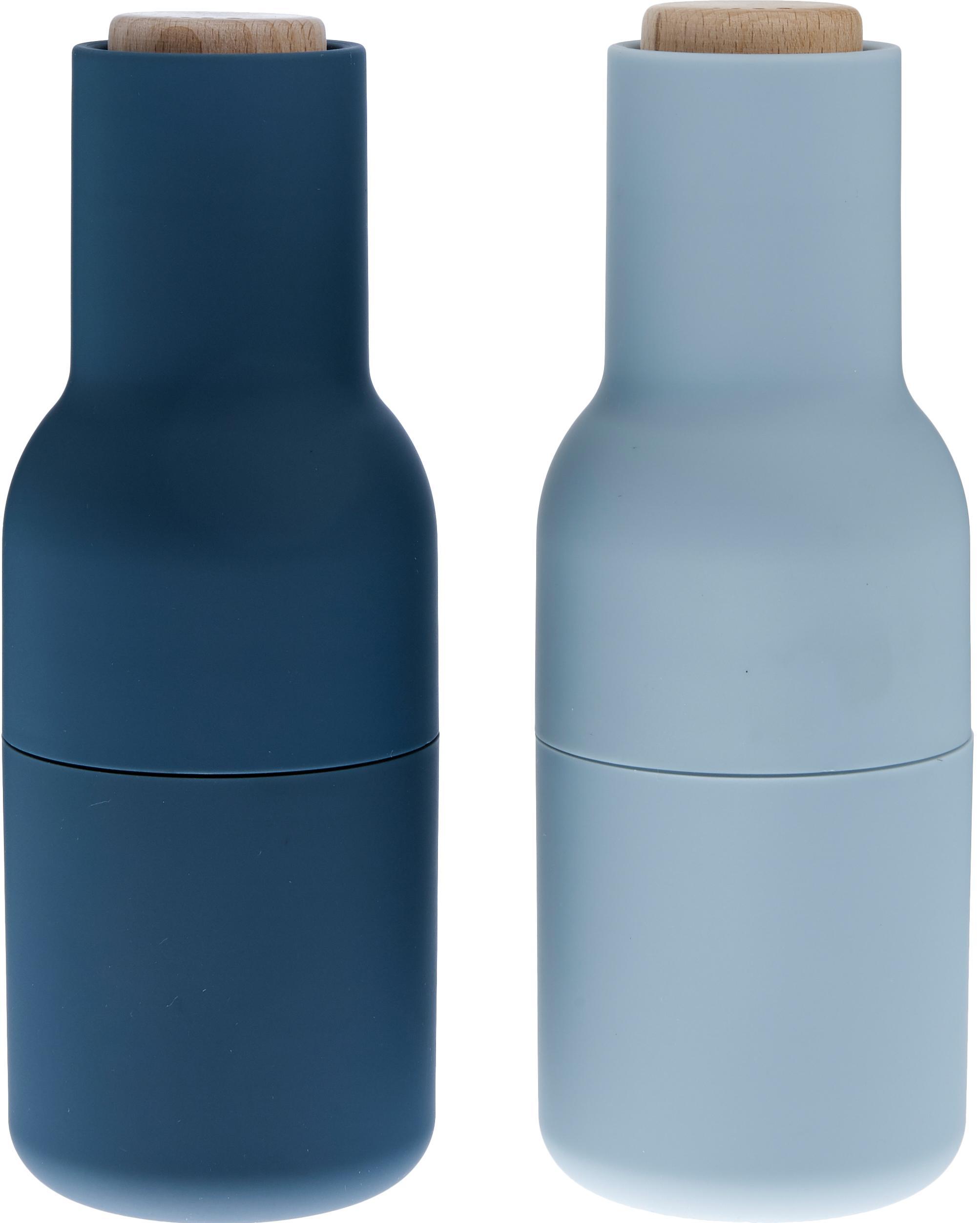 Set macina spezie Bottle Grinder 2 pz, Struttura: materiale sintetico, Coperchio: legno, Blu, azzurro, marrone, Ø 8 x Alt. 21 cm