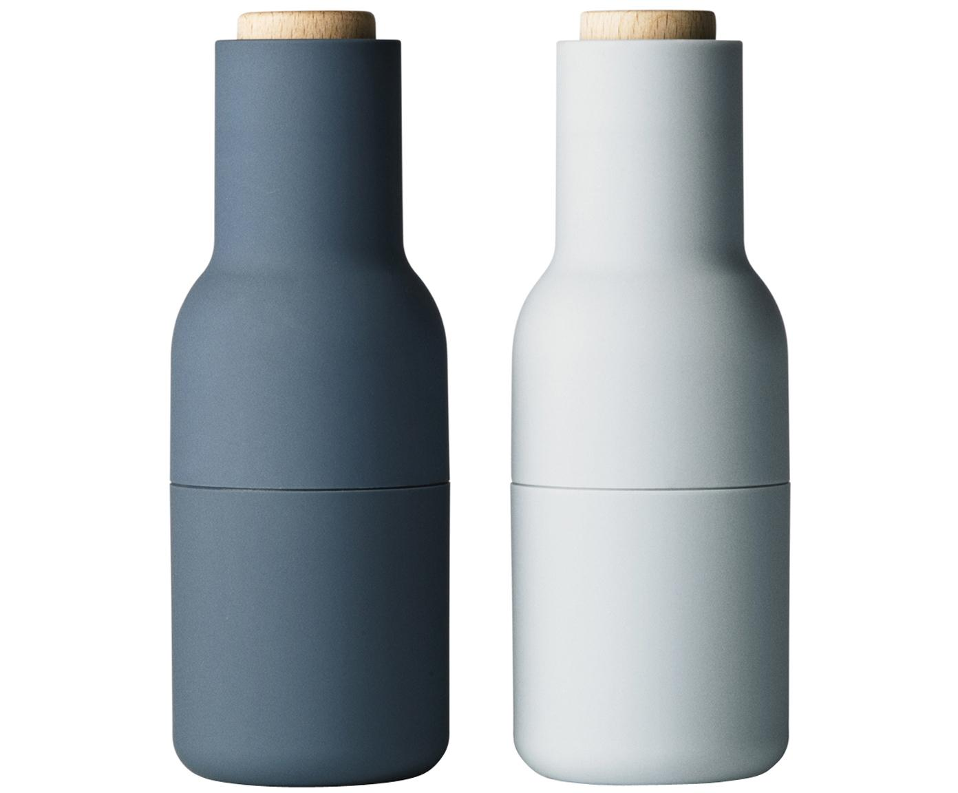 Peper- en zoutmolen Bottle Grinder, 2-delig, Frame: kunststof, Deksel: hout, Blauw, lichtblauw, bruin, Ø 8 x H 21 cm