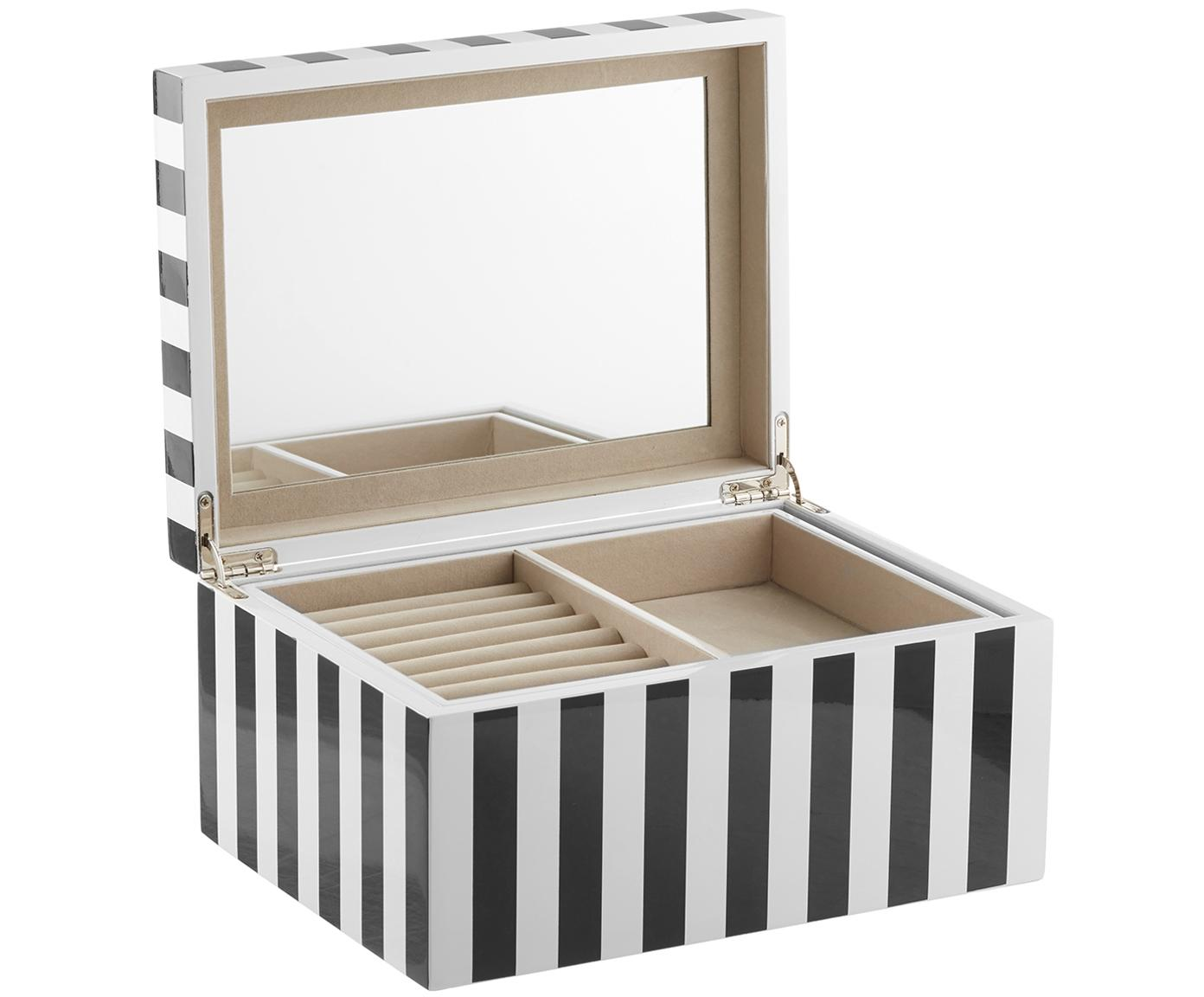 Joyero Taylor con espejo, Negro/blanco a rayas, An 26 x Al 13 cm