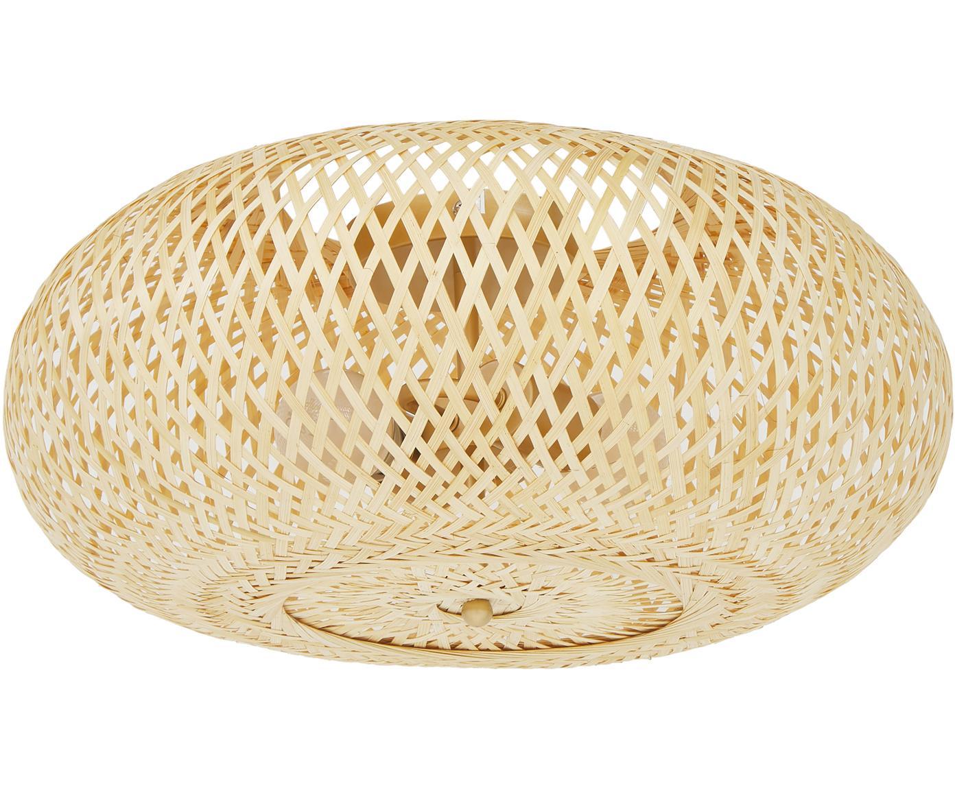 Plafondlamp Evelyn, Lampenkap: bamboe, Lampenkap: bamboekleurig. Baldakijn en bevestiging: mat beige, Ø 50 x H 20 cm