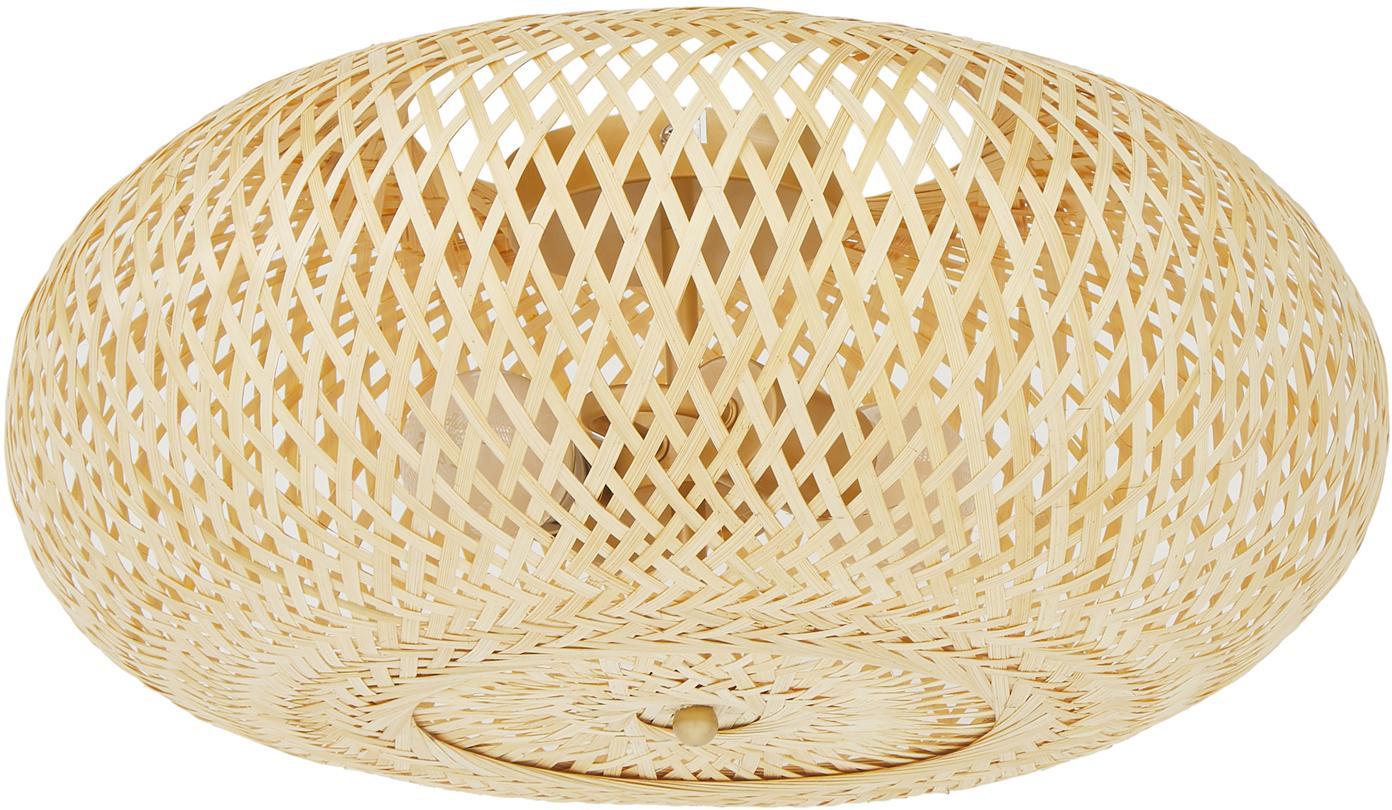 Handgefertigte Deckenleuchte Evelyn aus Bambus, Lampenschirm: Bambus, Lampenschirm: BambusBaldachin und Befestigung: Beige, matt, Ø 50 x H 20 cm