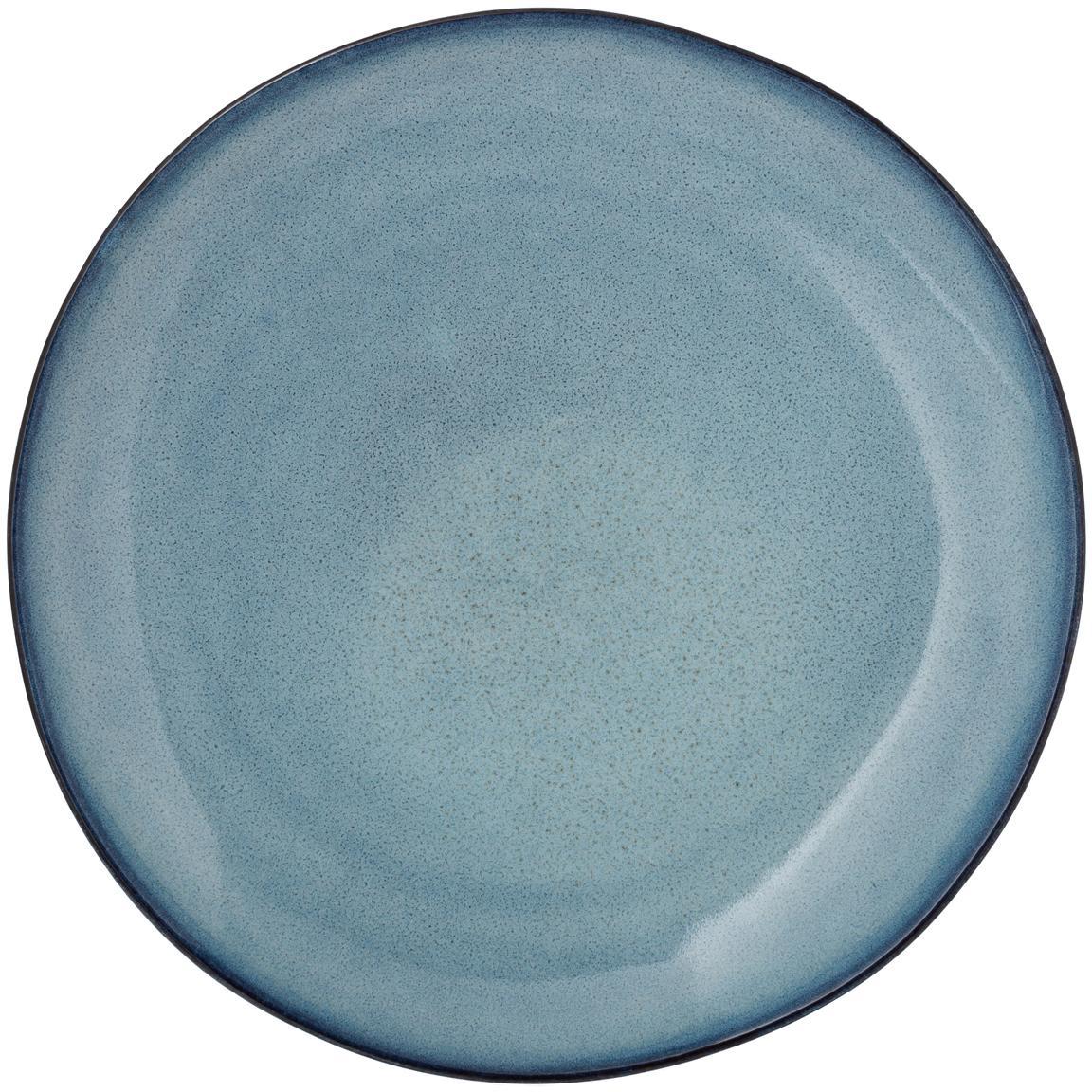 Piatto piano fatto a mano blu Sandrine, Ceramica, Tonalità blu, Ø 22 x Alt. 2 cm