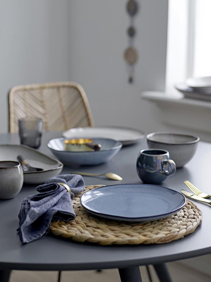Handgemachter Frühstücksteller Sandrine in Blau, Steingut, Blautöne, Ø 22 x H 2 cm