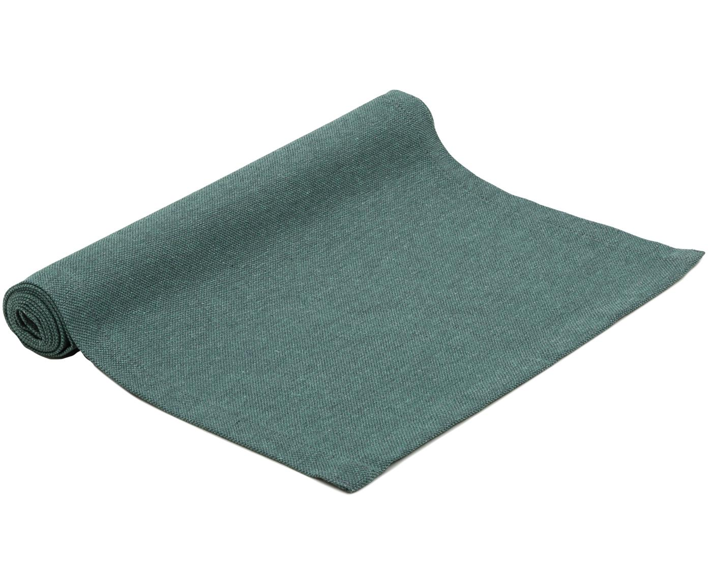 Tafelloper Riva, 55%katoen, 45%polyester, Petrol, 40 x 150 cm