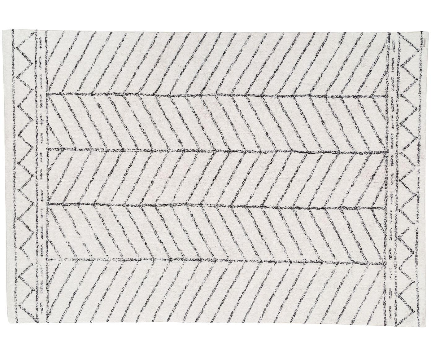 Teppich Firre mit Muster, 95% Baumwolle, 5% andere Faser, Gebrochenes Weiss, Schwarz, B 200 x L 300 cm (Grösse L)