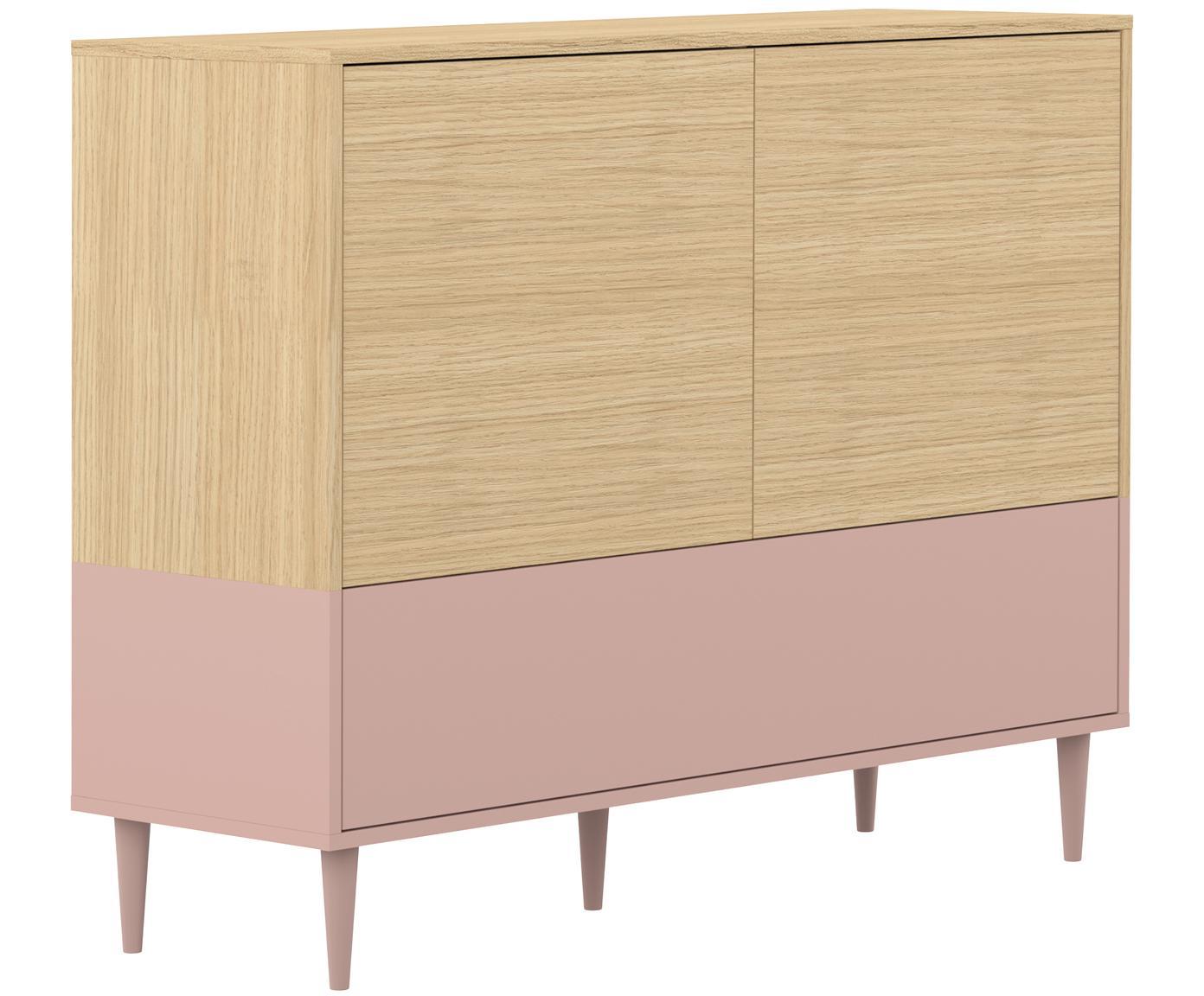 Credenza scandi Horizon, Piedini: legno di faggio, massicci, Legno di quercia, rosa cipria, Larg. 120 x Alt. 95 cm