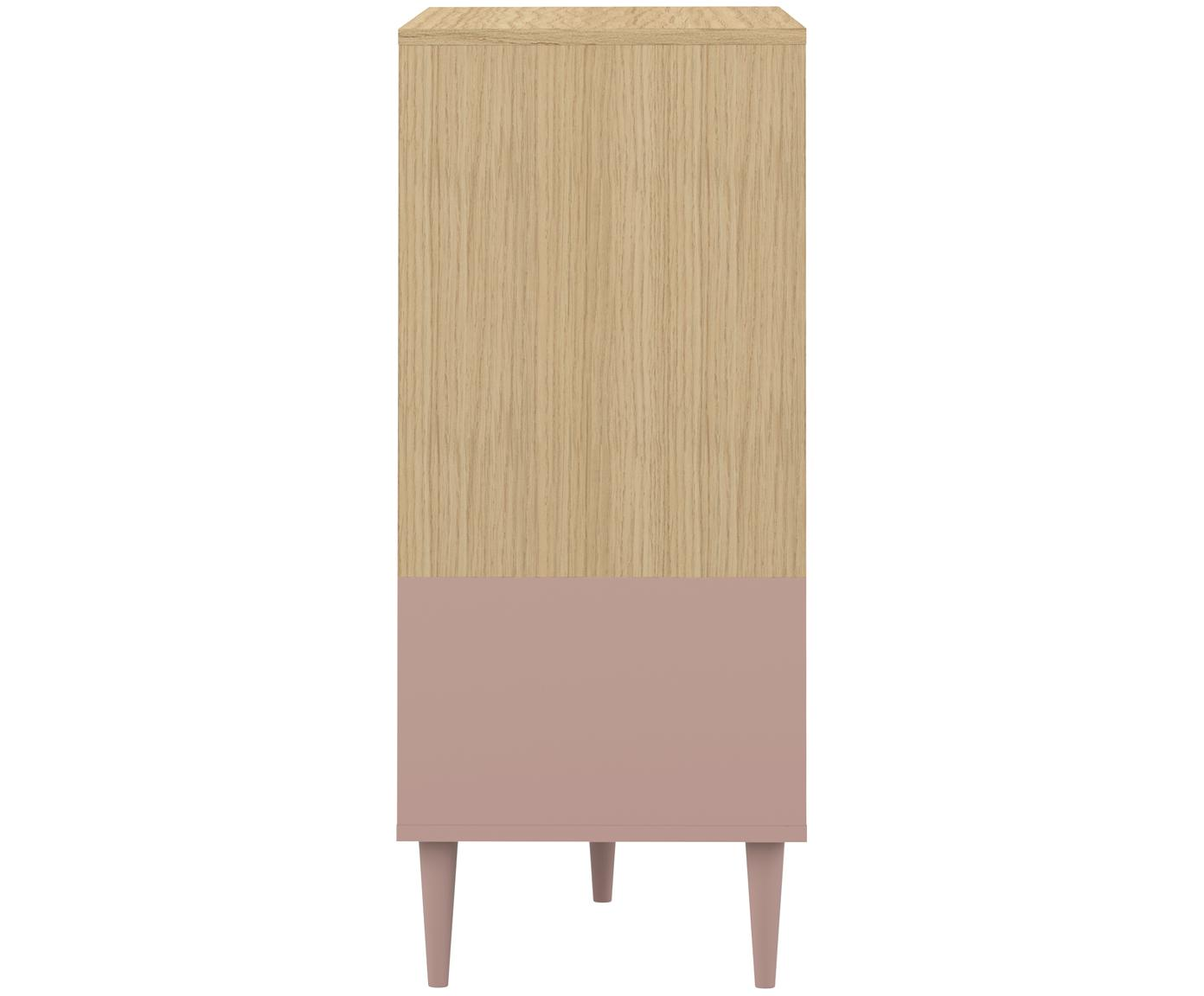Komoda scandi Horizon, Korpus: płyta wiórowa pokryta mel, Nogi: lite drewno bukowe, lakie, Drewno dębowe, brudny różowy, S 120 x W 95 cm