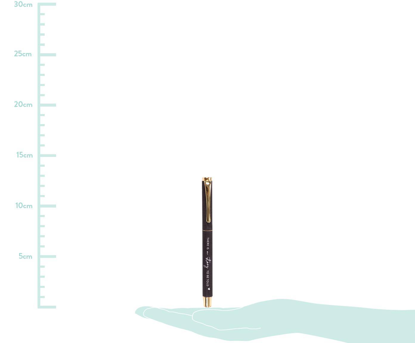 Füllhalter Story, Metall, lackiert, Dunkelgrau, Messingfarben, L 13 cm