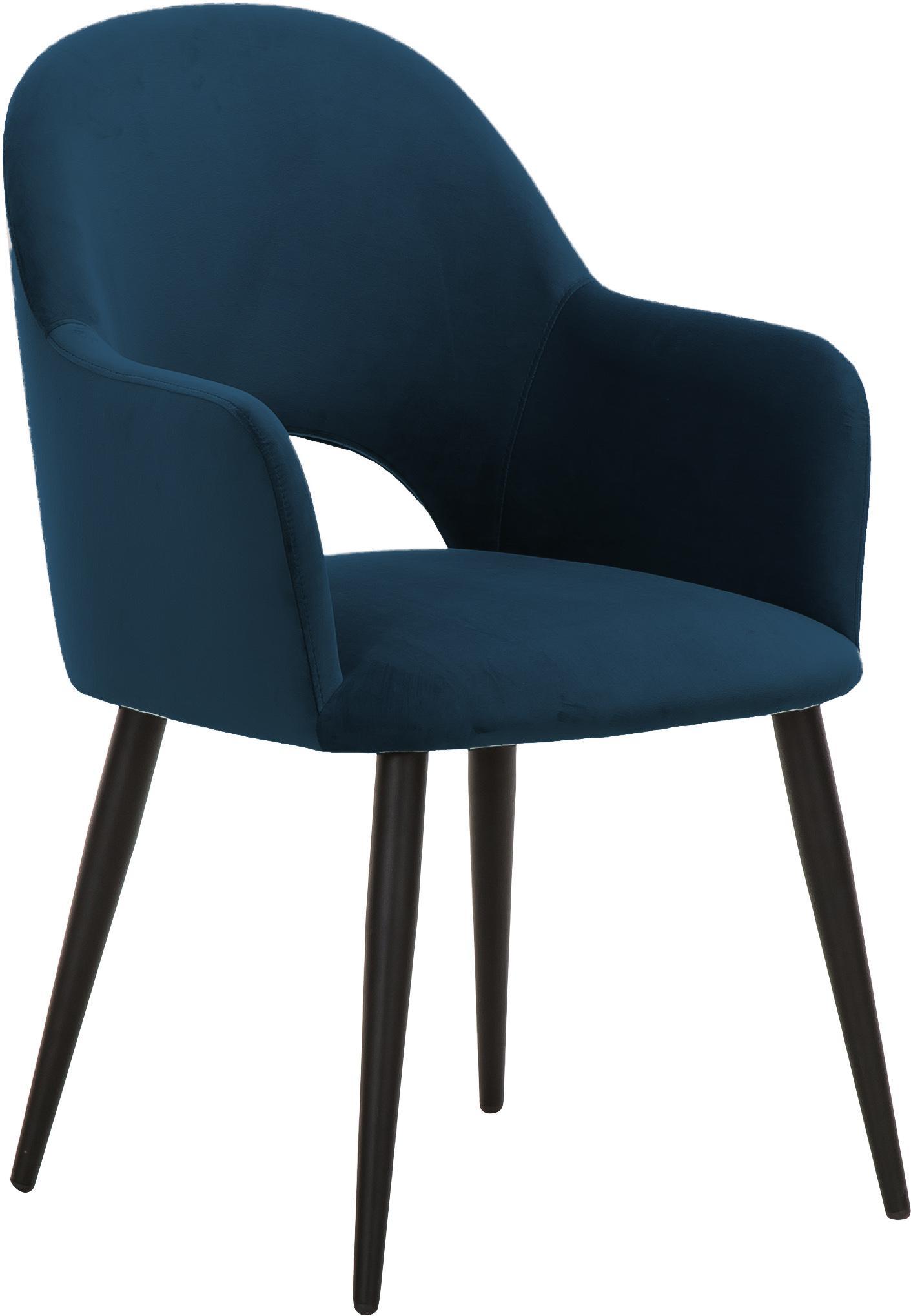 Krzesło z podłokietnikami z aksamitu Rachel, Tapicerka: aksamit (poliester) 5000, Nogi: metal malowany proszkowo, Aksamitny ciemny niebieski, S 47 x G 64 cm