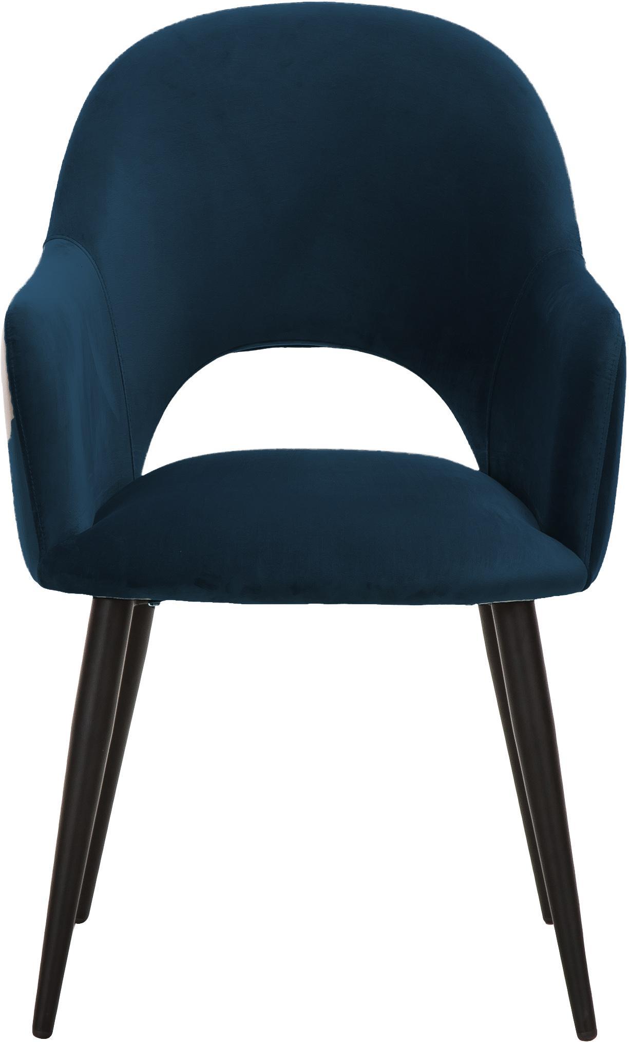 Sedia con braccioli in velluto Rachel, Rivestimento: velluto (poliestere) 50.0, Gambe: metallo verniciato a polv, Rivestimento: blu scuro Gambe: nero opaco, Larg. 47 x Prof. 64 cm