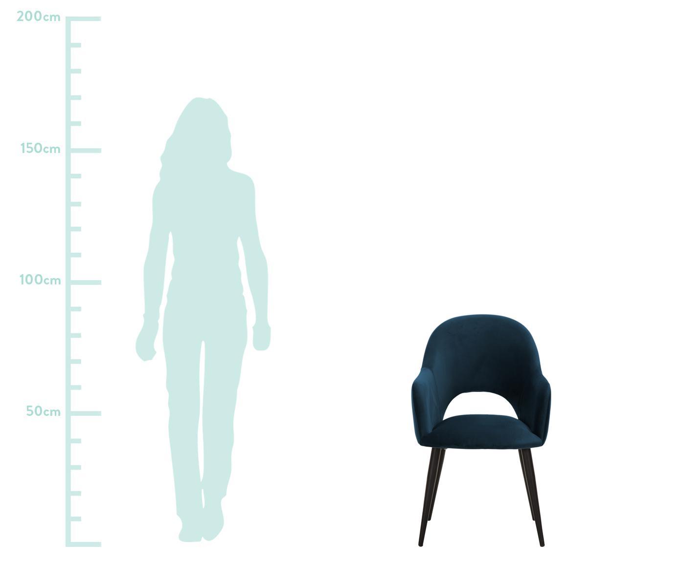 Samt-Armlehnstuhl Rachel, Bezug: Samt (Polyester) 50.000 S, Beine: Metall, pulverbeschichtet, Samt Dunkelblau, B 47 x T 64 cm
