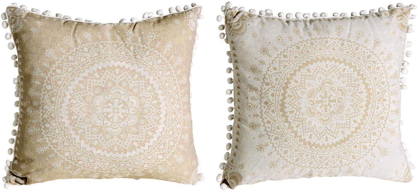 Set di 2 cuscini imbottiti a fantasia Paloma, Poliestere, Beige, bianco, Larg. 45 x Lung. 45 cm