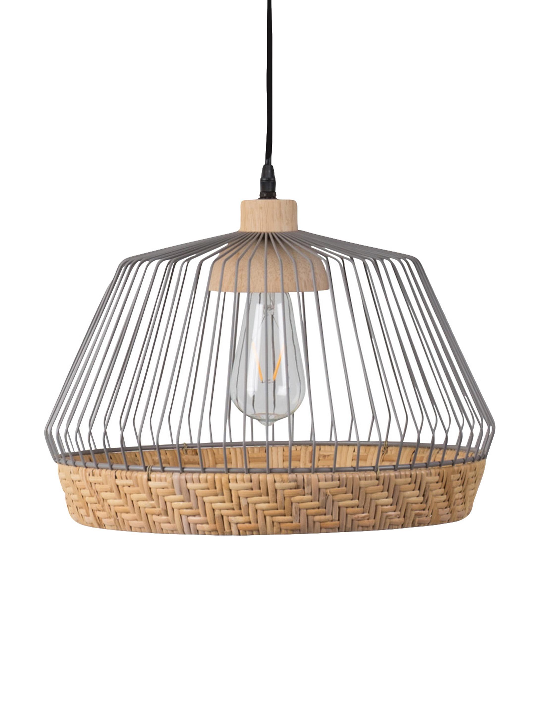 Lampa wisząca z rattanu i metalu Birdy, Klosz: rattan, jasny szary Osłona mocowania sufitowego: drewno kauczukowe, Ø 38 x W 27 cm