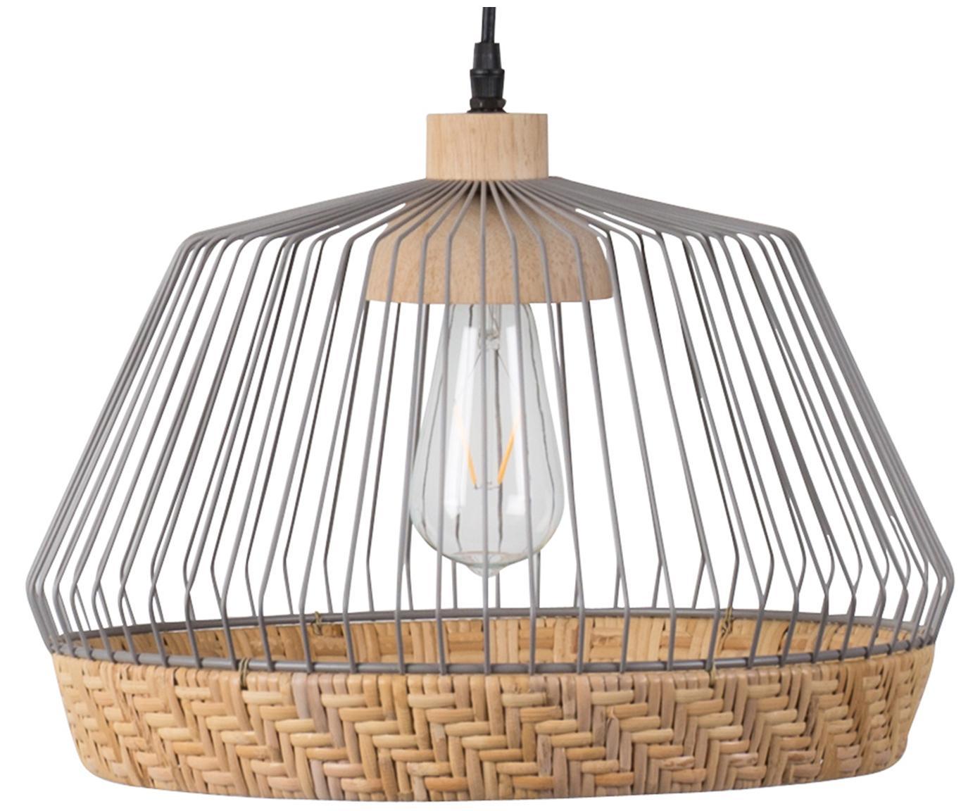 Hanglamp Birdy uit rotan en metaal, Lampenkap: rotan, gelakt metaal, Baldakijn: gelakt metaal, Lampenkap: rotan, lichtgrijs. Bevestiging: rubberhoutkleurig, Ø 38 x H 27 cm