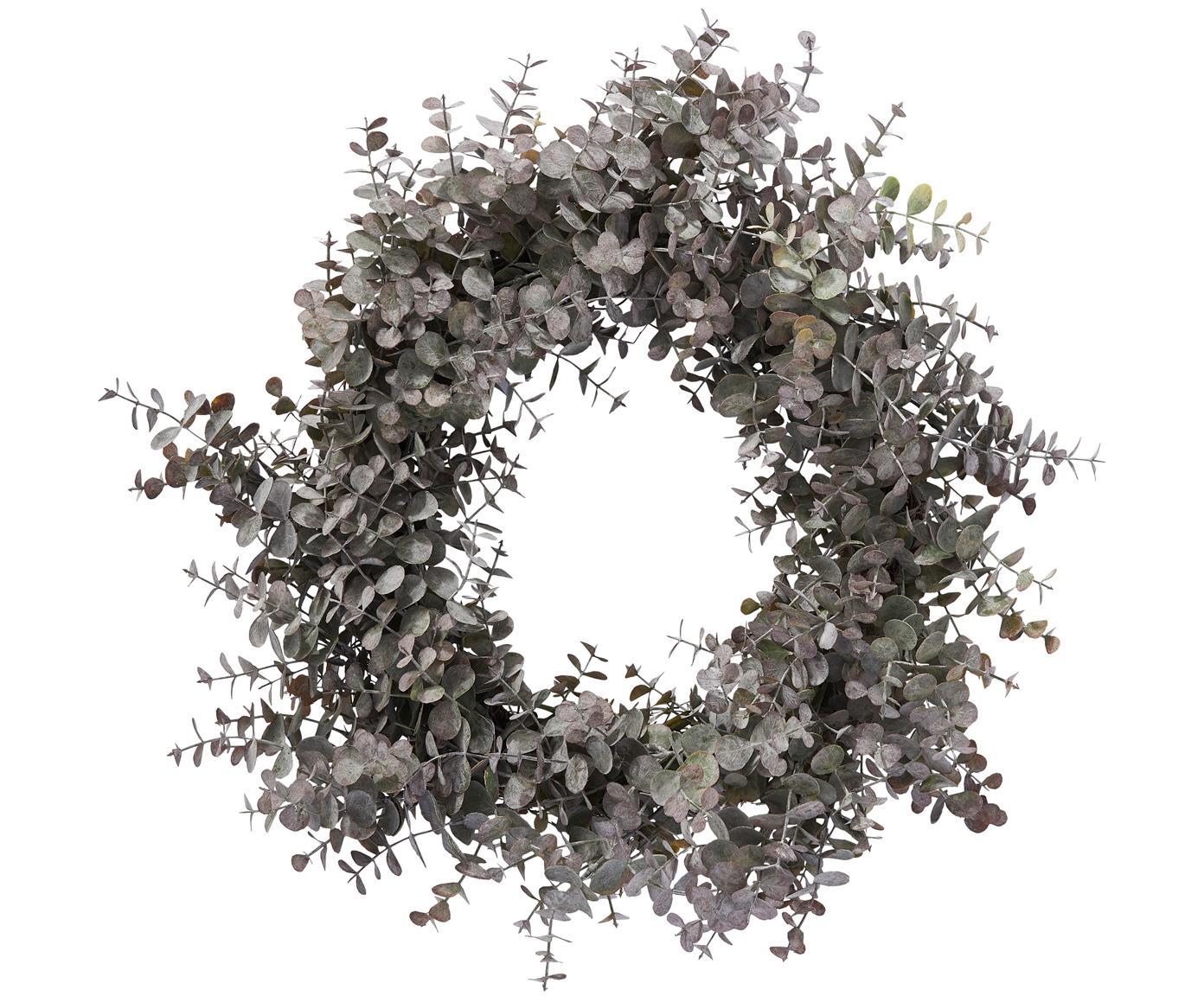 Corona navideña Eurelia, Plástico, Verde grisaceo, Ø 46 x Al 10 cm