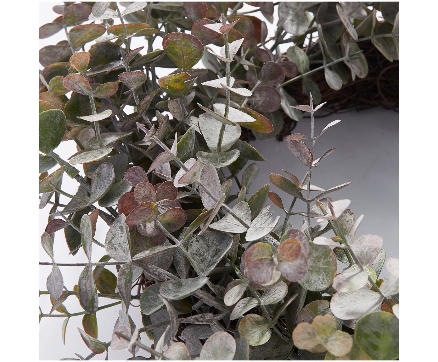 Eukalyptuskranz Eurelia, Kunststoff, Pudergrün, Ø 46 x H 10 cm