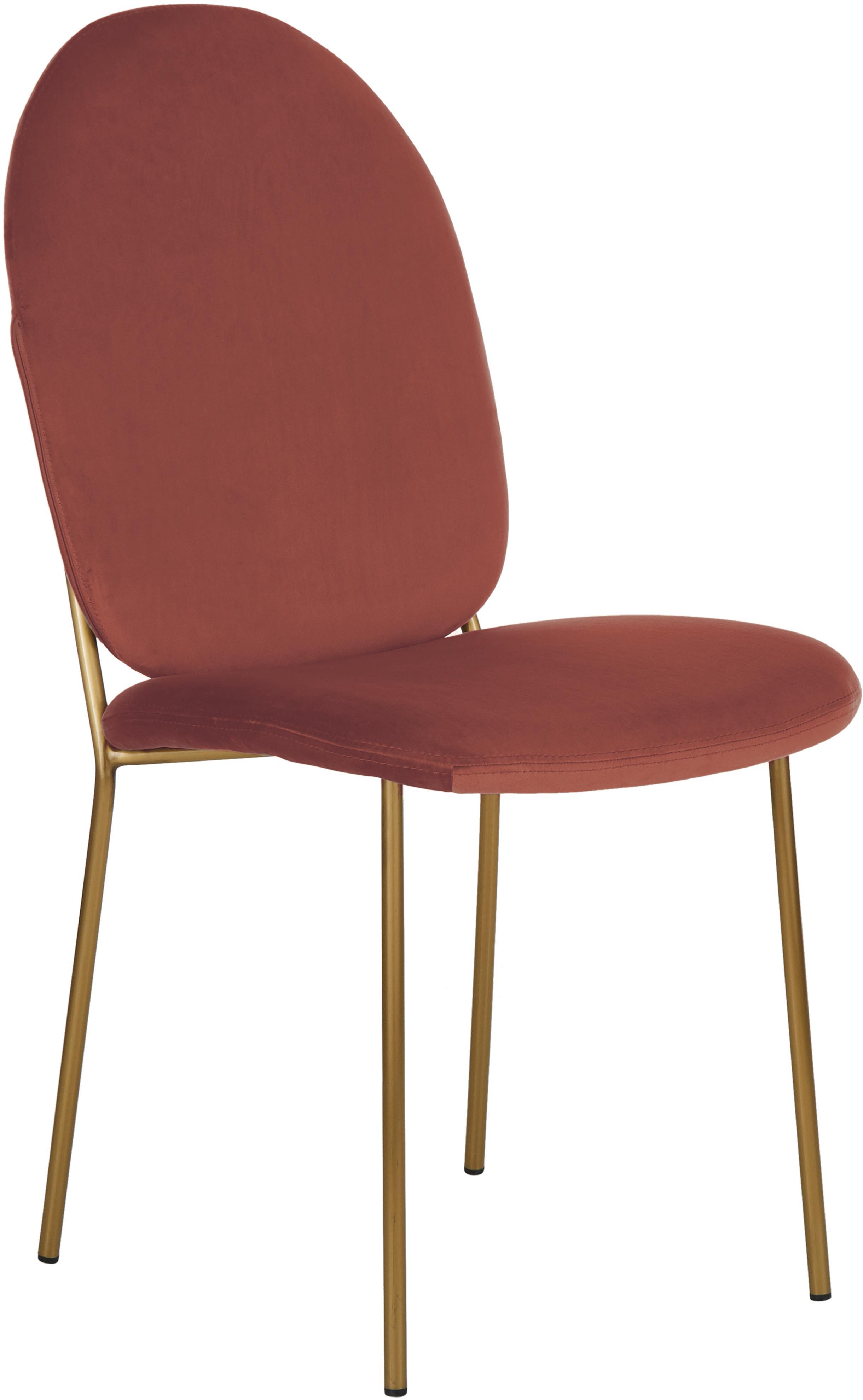 Fluwelen stoel Mary, Bekleding: fluweel (polyester), Poten: bekleed metaal, Terracotta, B 44 x D 65 cm