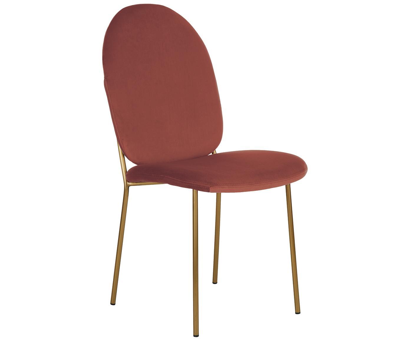 Sedia imbottita in velluto Mary, Rivestimento: velluto (poliestere) 15.0, Gambe: metallo rivestito, Terracotta, Larg. 44 x Prof. 65 cm