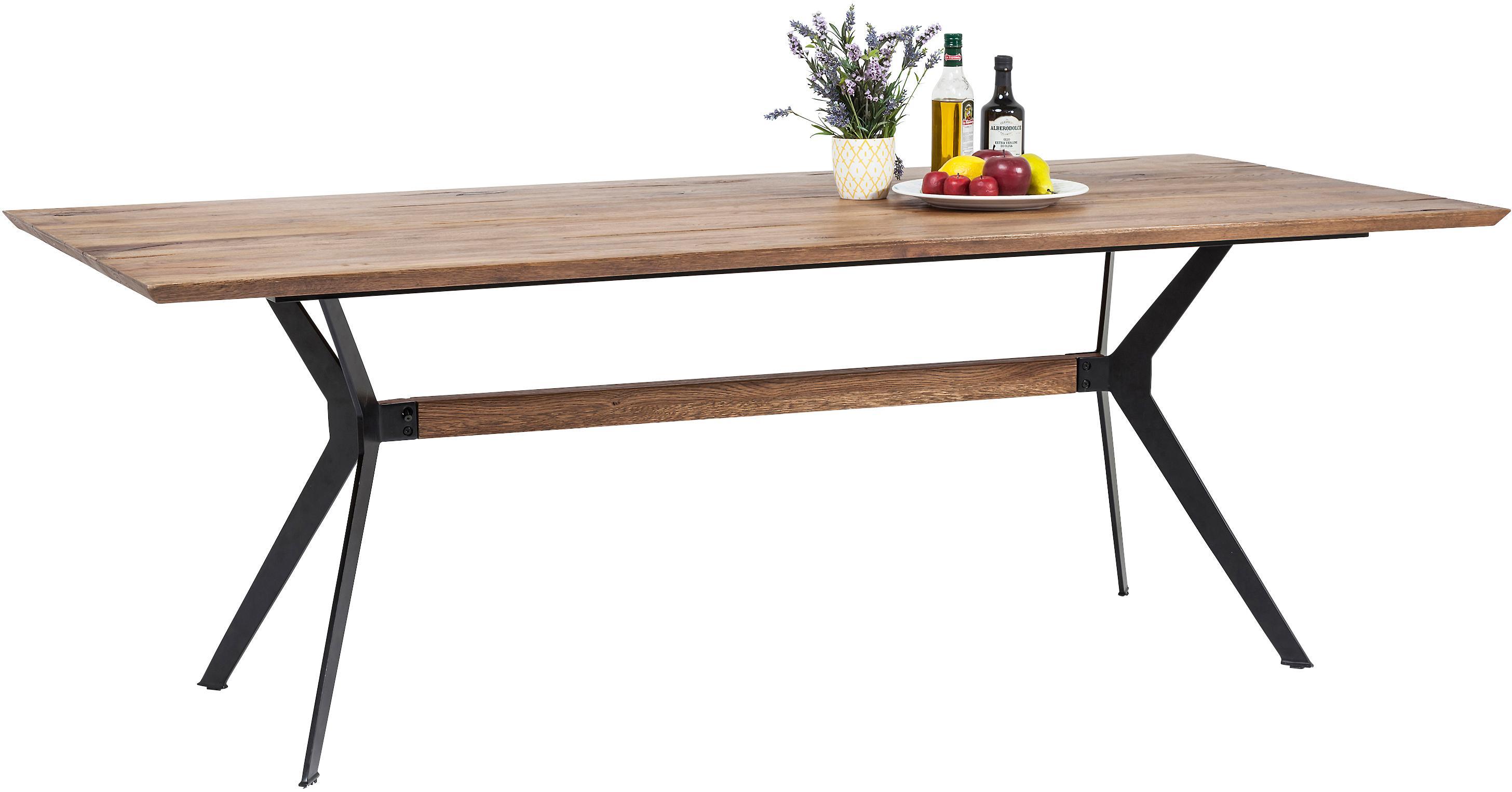Eettafel Downtown met massief houten blad, Poten: gepoedercoat metaal, Tafelblad: eikenhout, geolied, Poten: zwart. Tafelblad: eikenhout, B 220 x D 100 cm