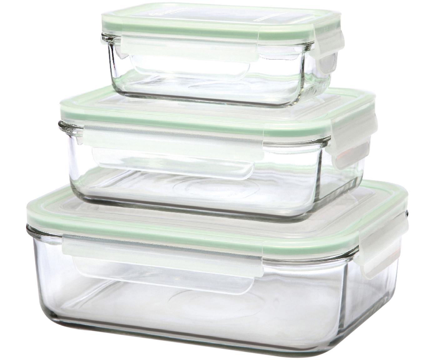 Set de recipientes herméticos Alma, 3uds., Recipiente: vidrio templado, libre de, Transparente, verde claro, Tamaños diferentes