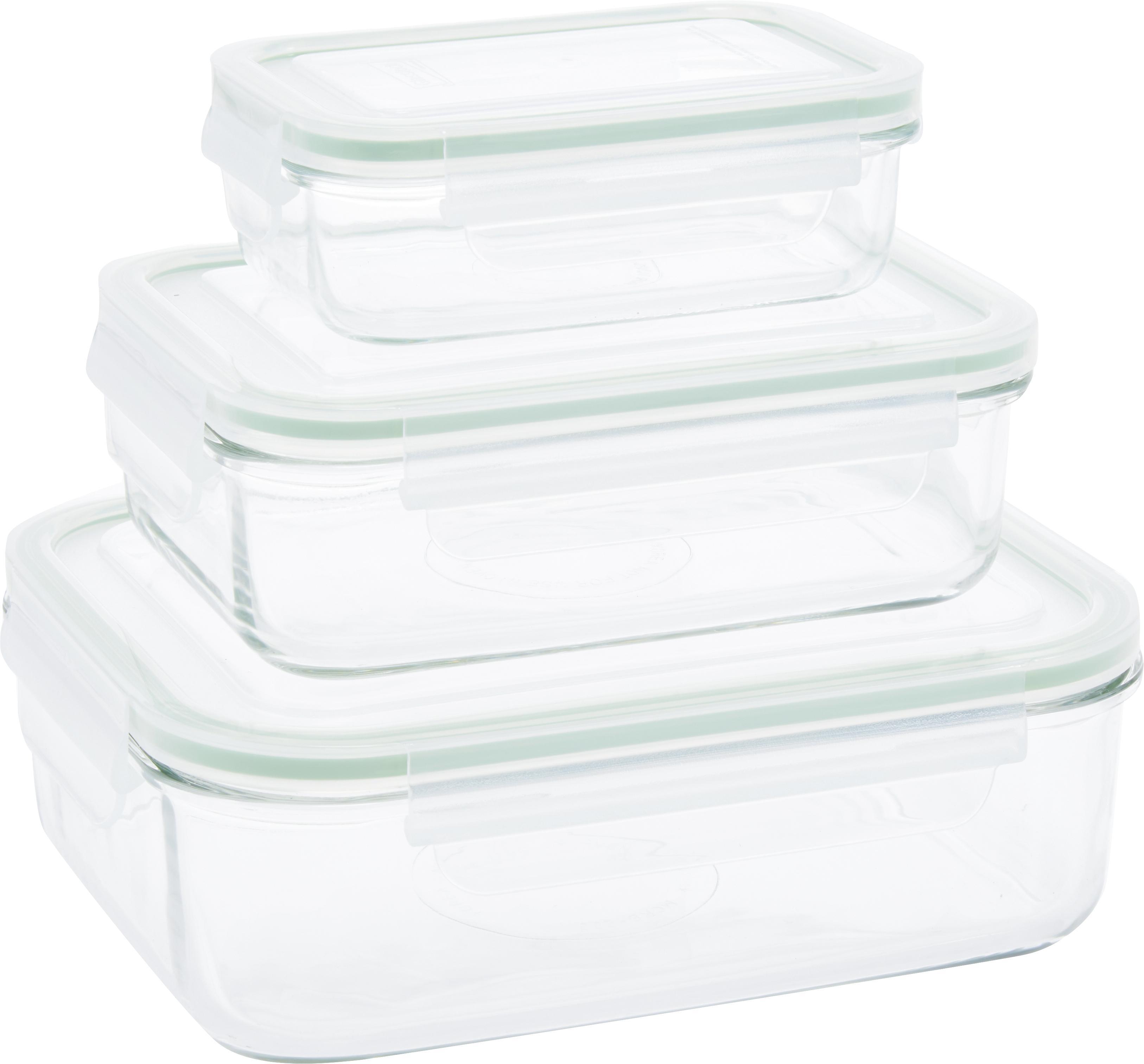 Frischhalteboxen-Set Alma, 3-tlg., Behälter: Gehärtetes Glas, schadsto, Verschluss: Polypropylen, Dichtung: Silikon, Transparent, Hellgrün, Sondergrößen