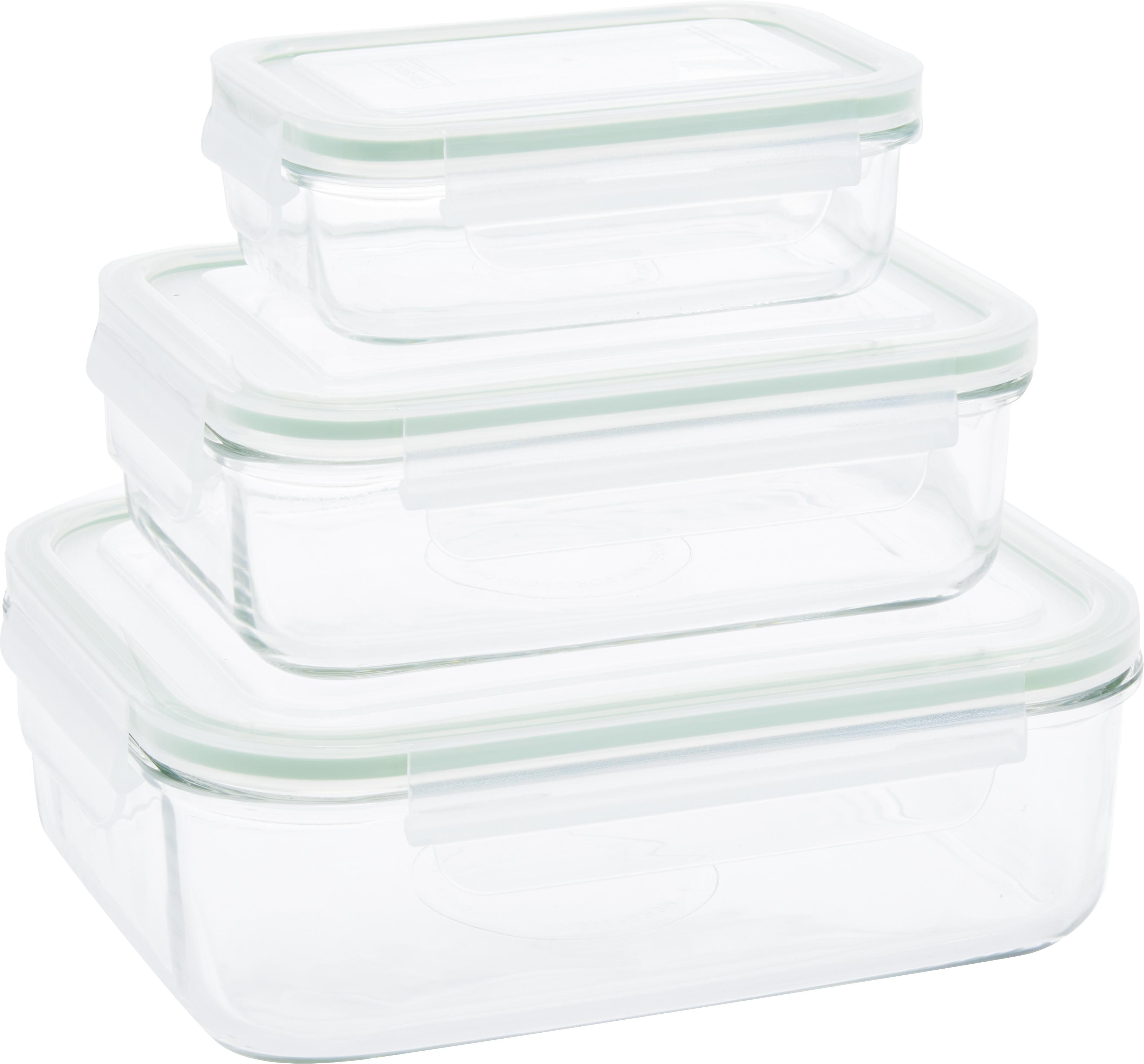 Set contenitori per alimenti Alma 3 pz, Contenitore: vetro temperato, privo di, Trasparente, verde chiaro, Set in varie misure