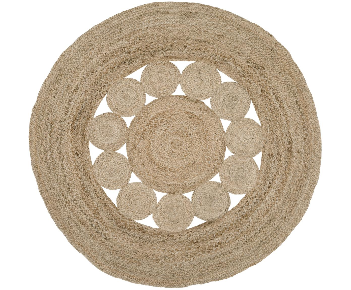 Runder Jute-Teppich Tapu im Boho Style, handgefertigt, Beige, Ø 150 cm (Grösse M)